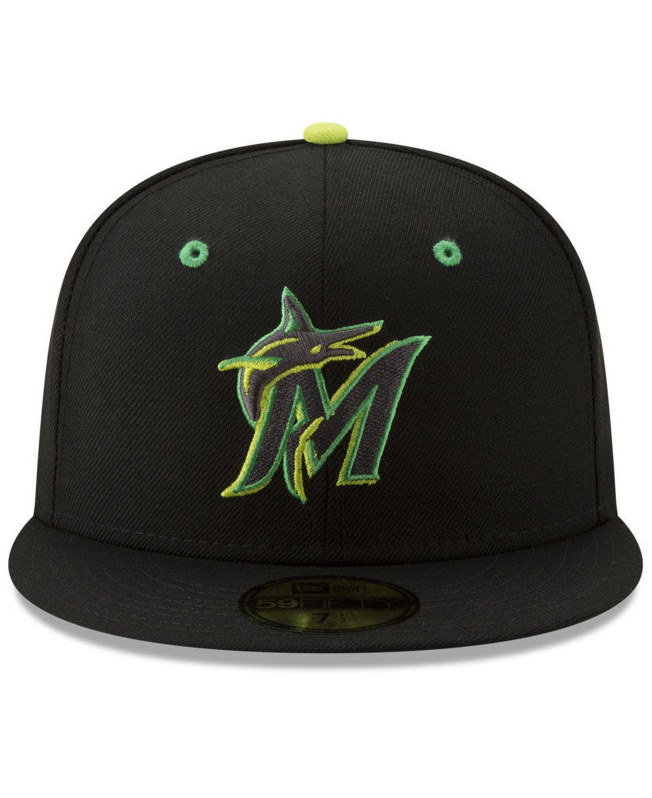 the best attitude 8c775 76690 Lyst - KTZ Miami Marlins Night Moves 59fifty Fitted Cap in Black for Men