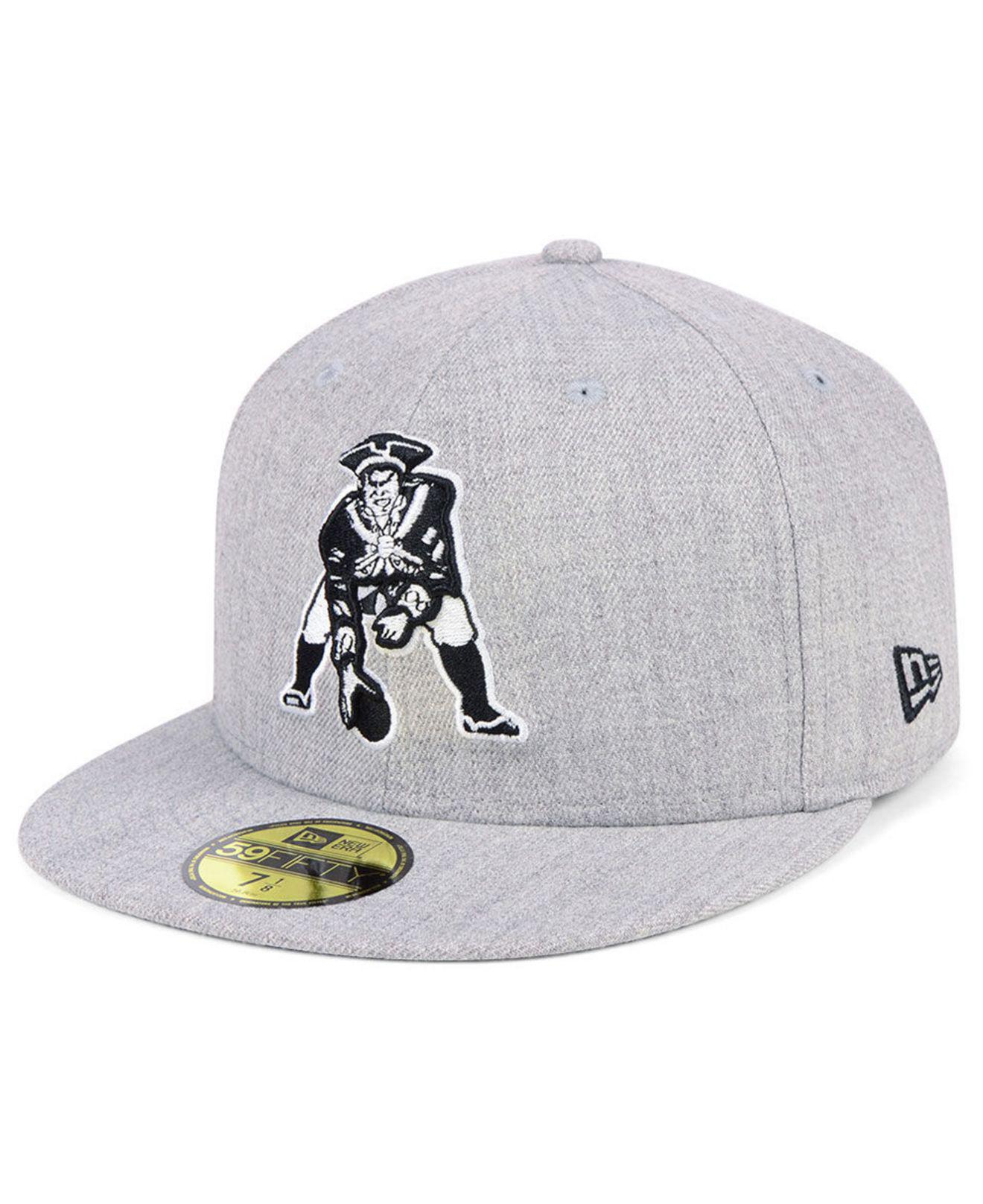 Lyst - KTZ New England Patriots Heather Black White 59fifty Fitted ... 227459a25