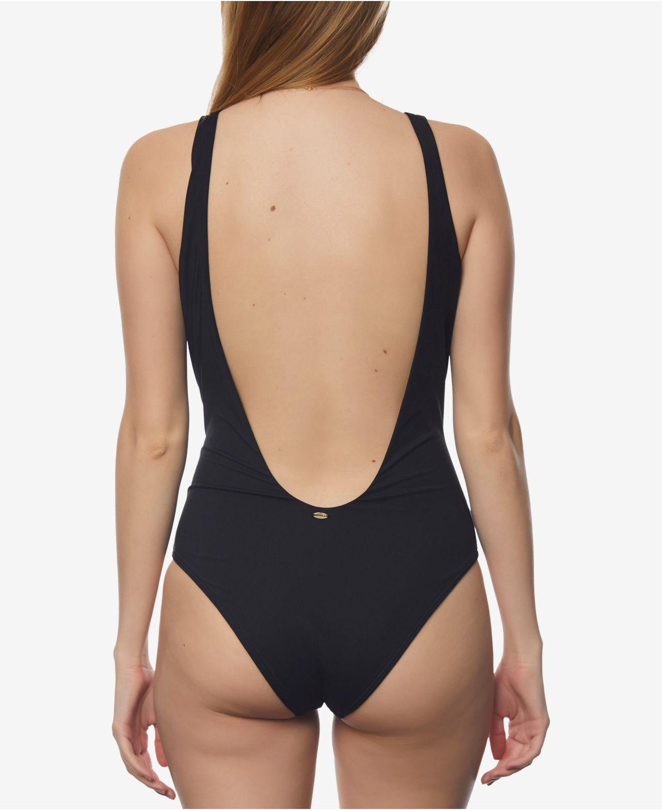 43e283d5f0 Lyst - O'neill Sportswear Juniors' Salt Water Solids Lattice-front Cheeky  One-piece Swimsuit in Black