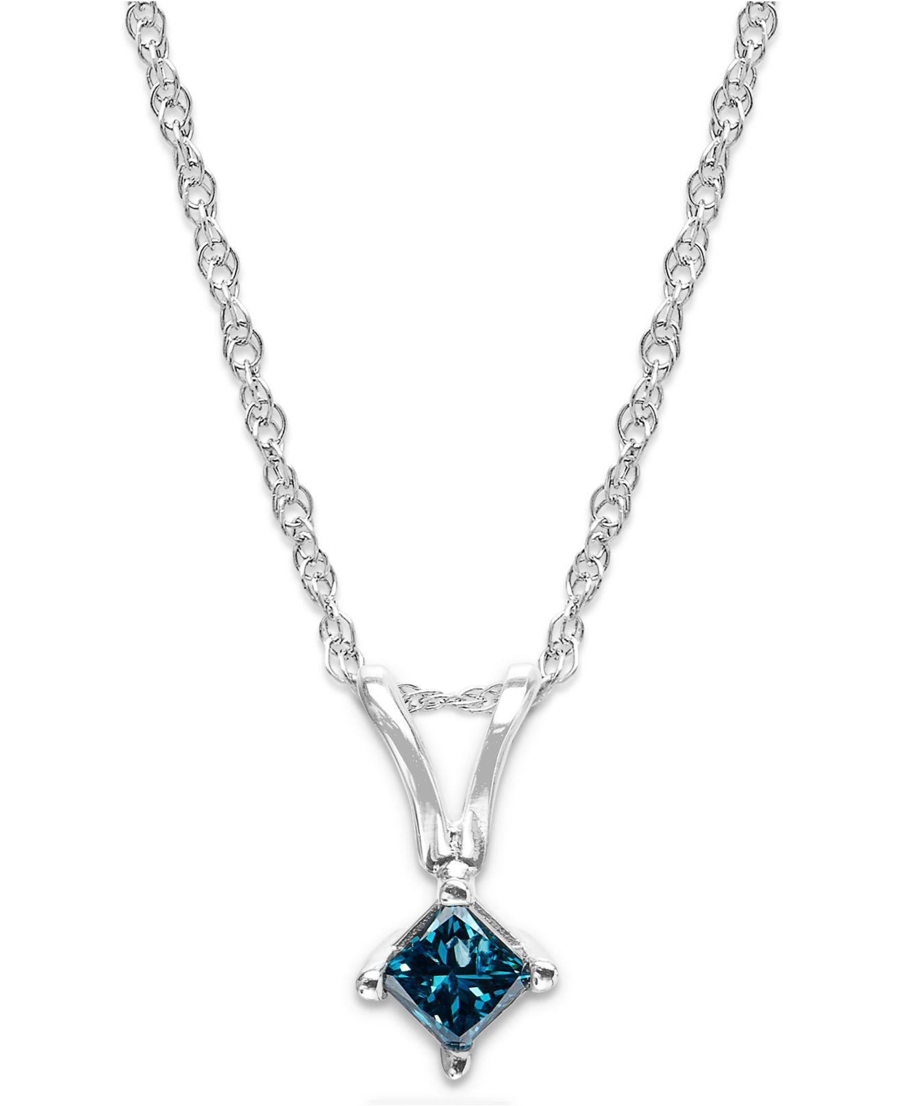 Lyst macys 10k white gold blue diamond pendant necklace 110 ct macys womens metallic 10k white gold blue diamond pendant necklace aloadofball Image collections