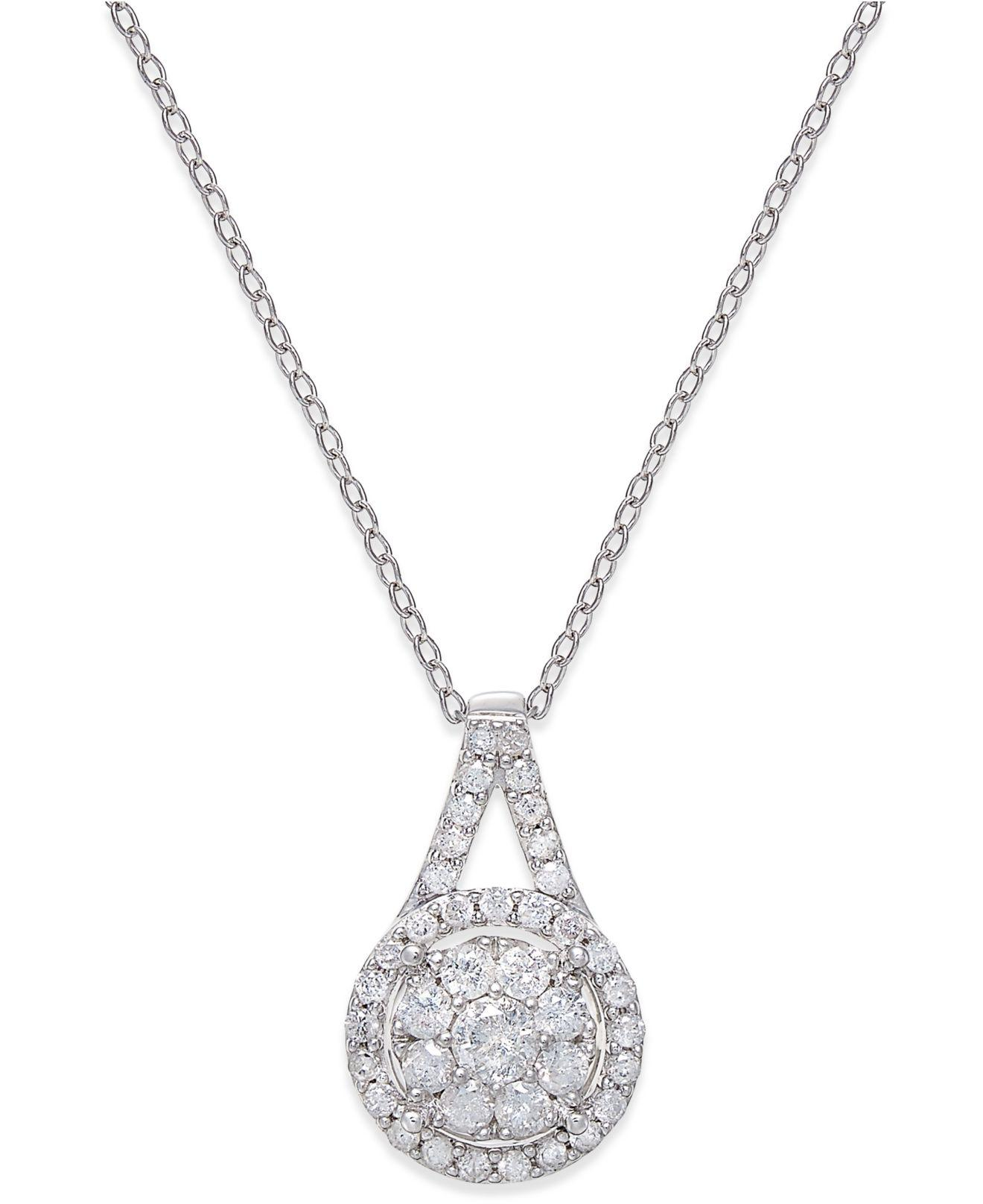 Lyst Macy S Diamond Pendant Necklace 1 2 Ct T W In