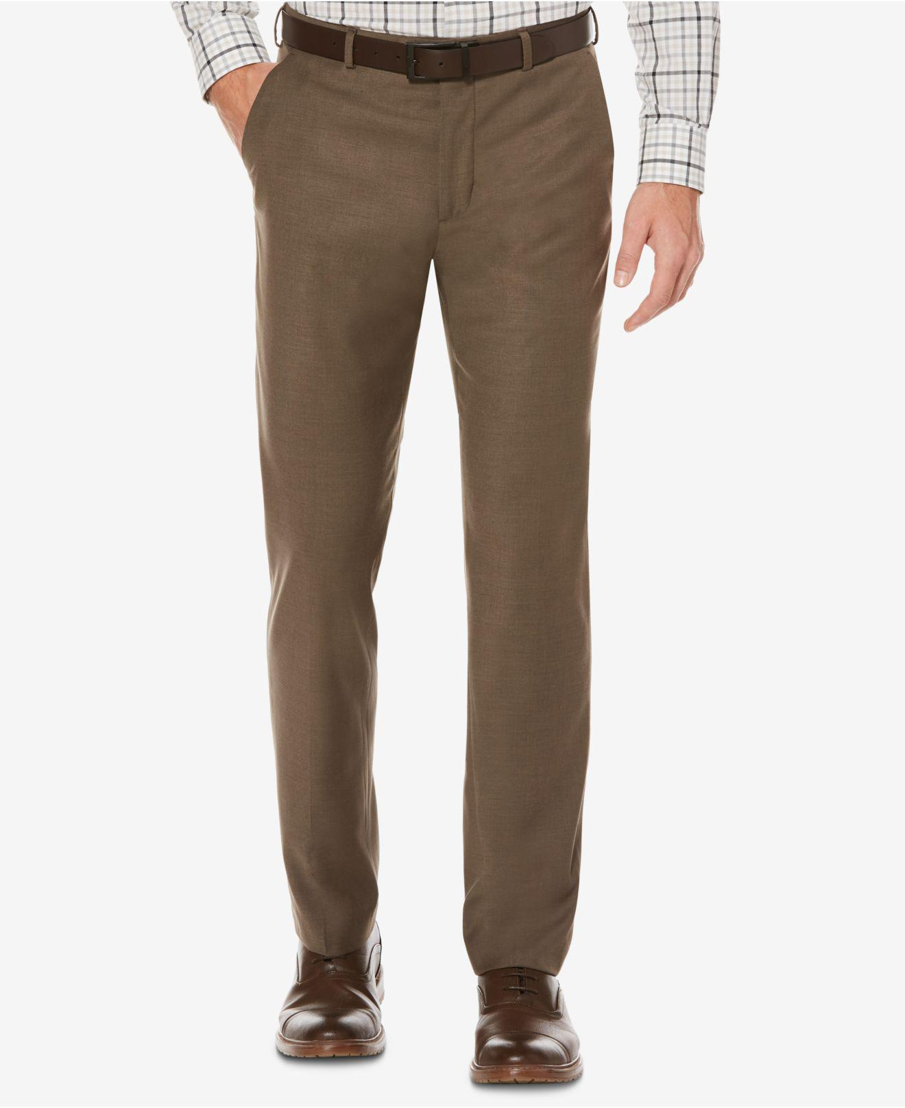 bed96e37d1 Perry Ellis. Men's Brown Portfolio Straight Fit No Iron Flat Front  Bengaline Dress Pants