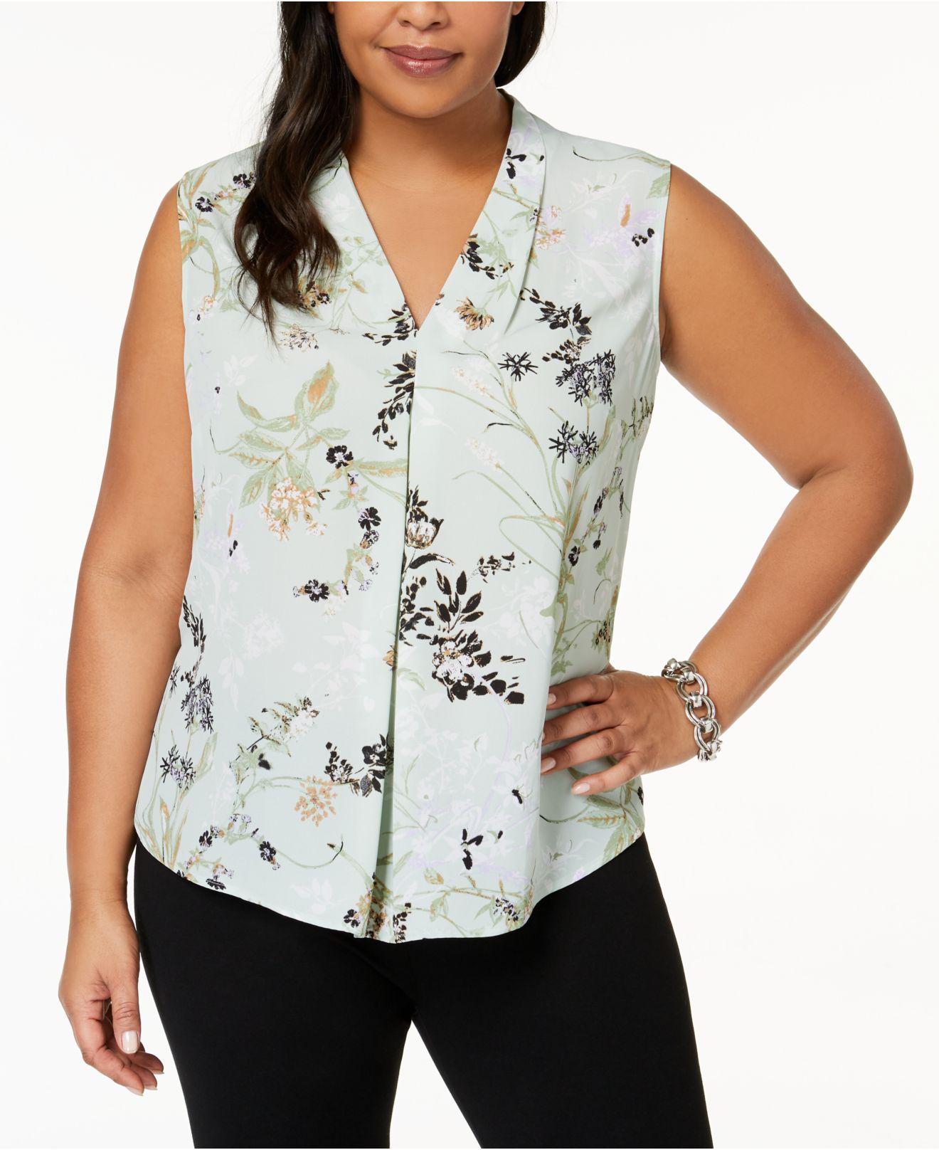 4466667f51190 Lyst - Nine West Plus Size Floral-print Shell