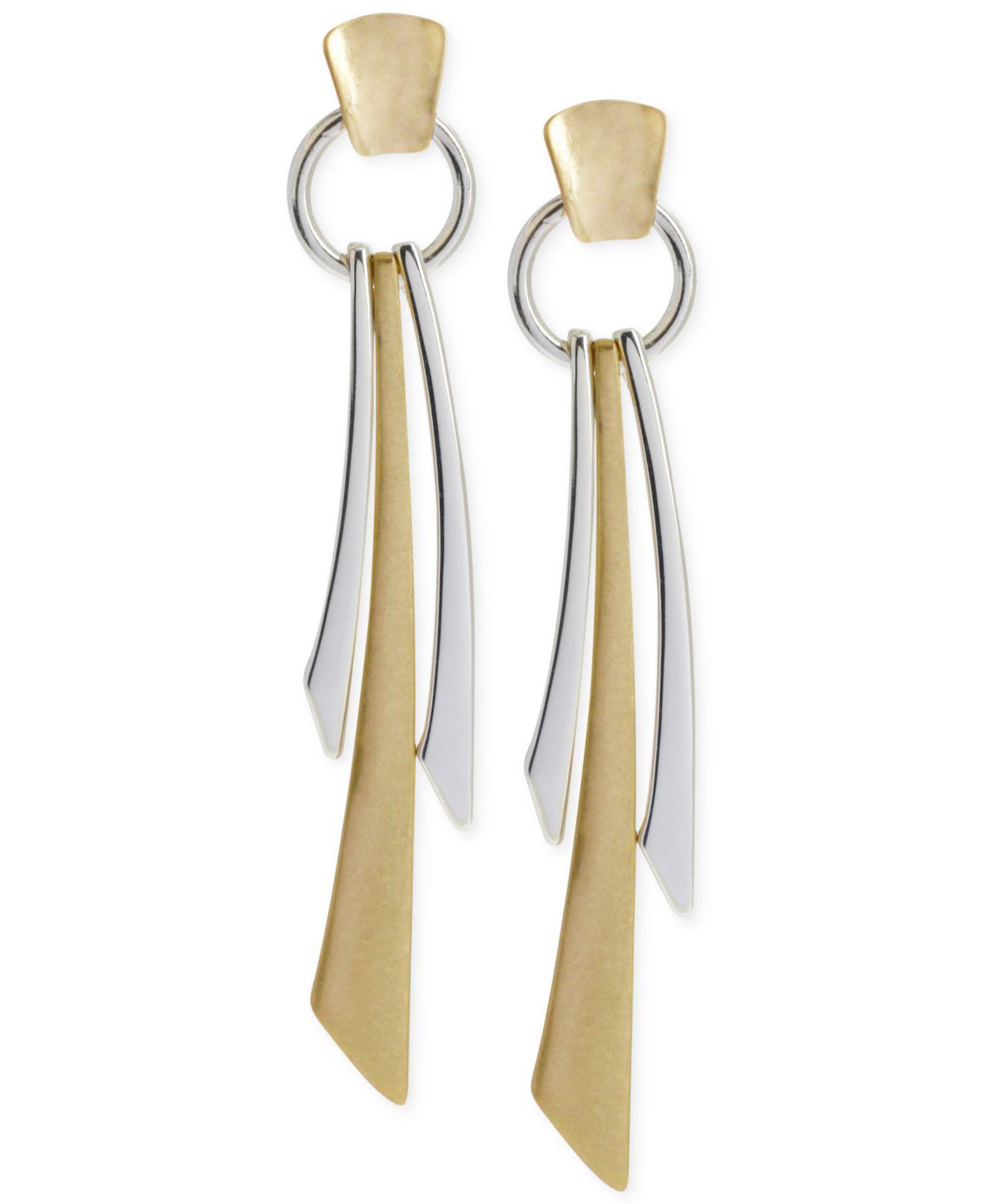 d3d426195 Lyst - Robert Lee Morris Two-tone Geometric Linear Earrings in Metallic