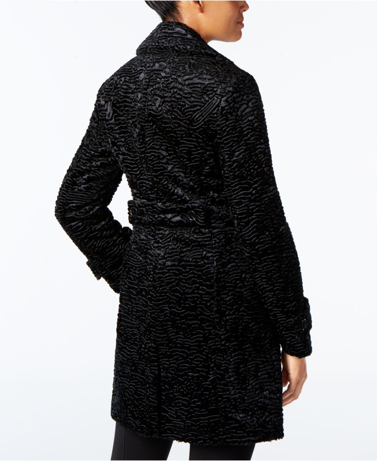 Jones New York Textured Faux-fur Walker Coat in Black - Lyst