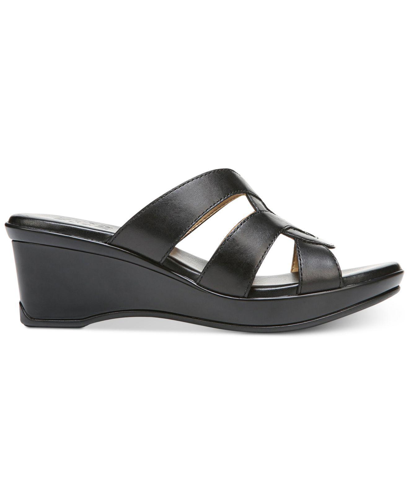86b4c544981 Lyst - Naturalizer Violet Wedge Sandals in Black