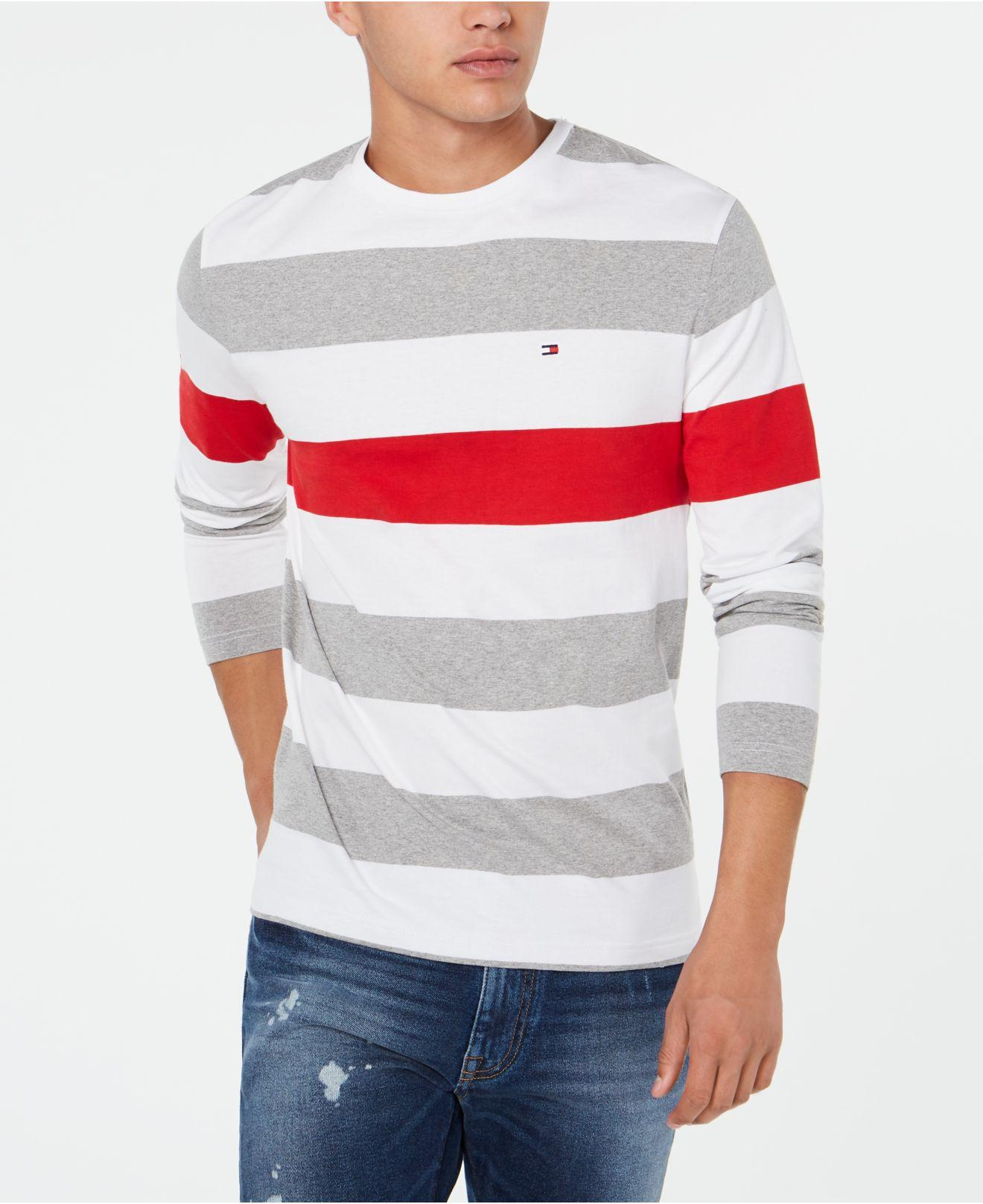 3868b9528fe26b Tommy Hilfiger. Men s Gray Long-sleeve Striped T-shirt