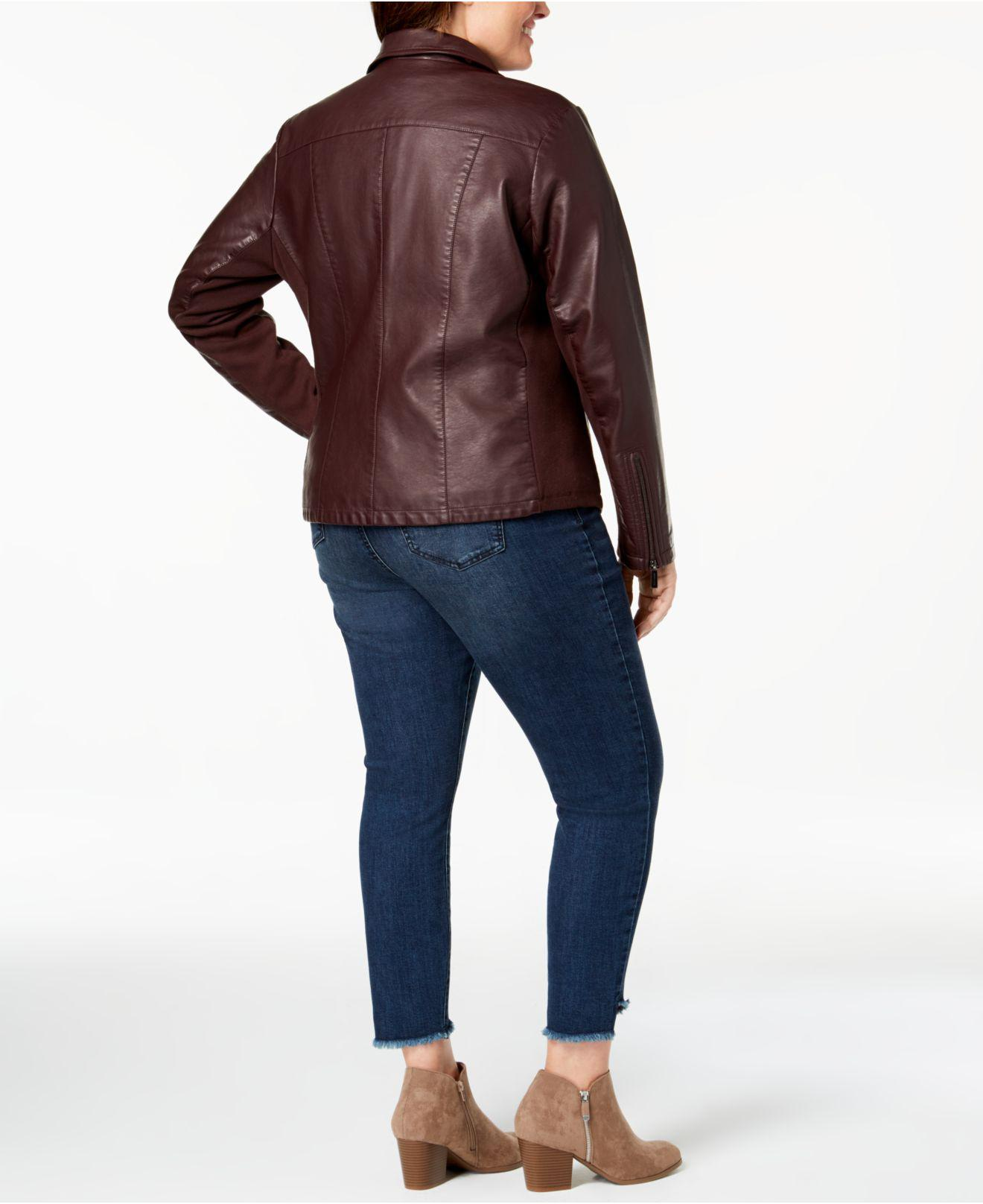4be65d7c88f Lyst - Kenneth Cole Plus Size Mixed-media Moto Jacket in Blue - Save 12%