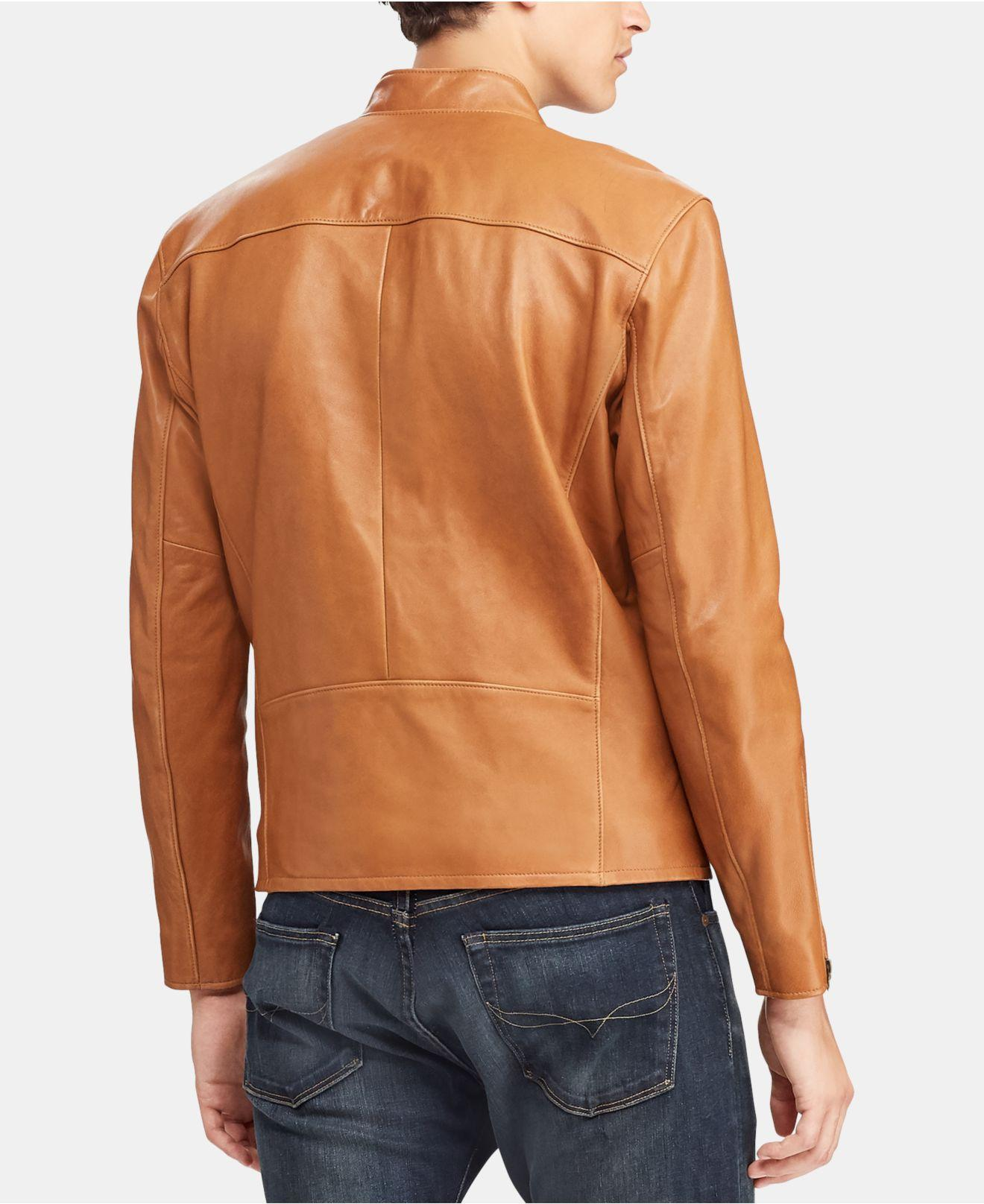 Lyst - Polo Ralph Lauren Men s Cafe Racer Leather Jacket in Blue for Men 1f01b07a7d0b0