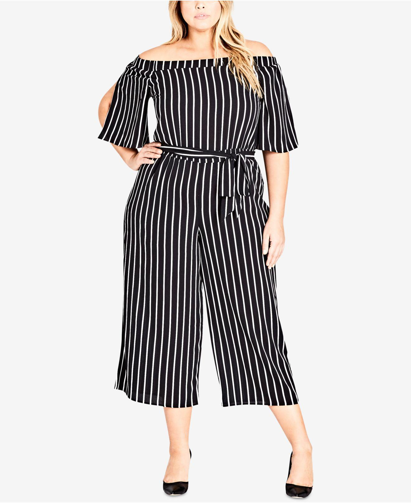 05e95c46ccf8 City Chic Stripe Play Jumpsuit in Black - Save 27% - Lyst