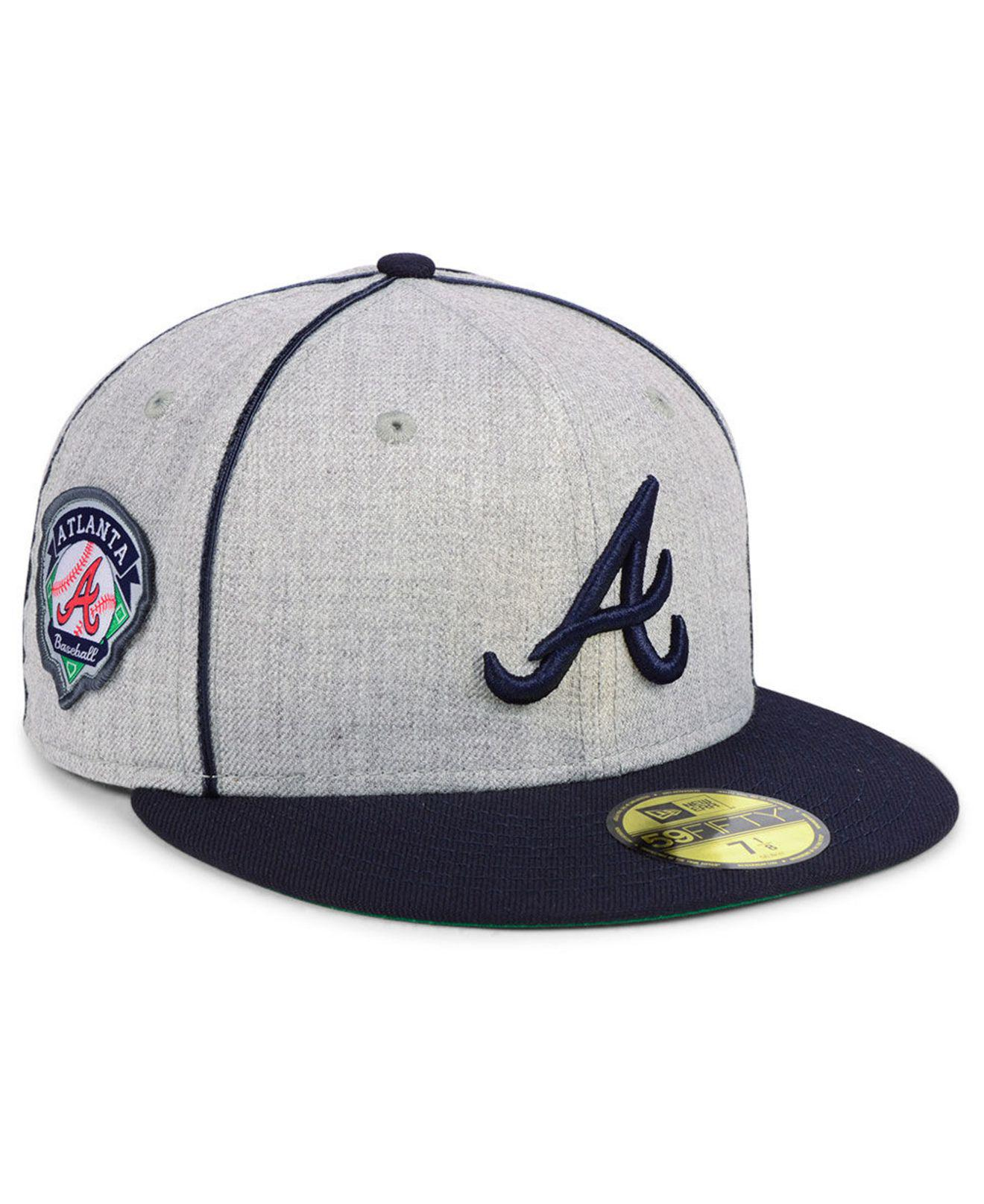 pretty nice f0f6e 5a609 ... 50% off ktz. mens blue atlanta braves stache 59fifty fitted cap 45716  6f6c8