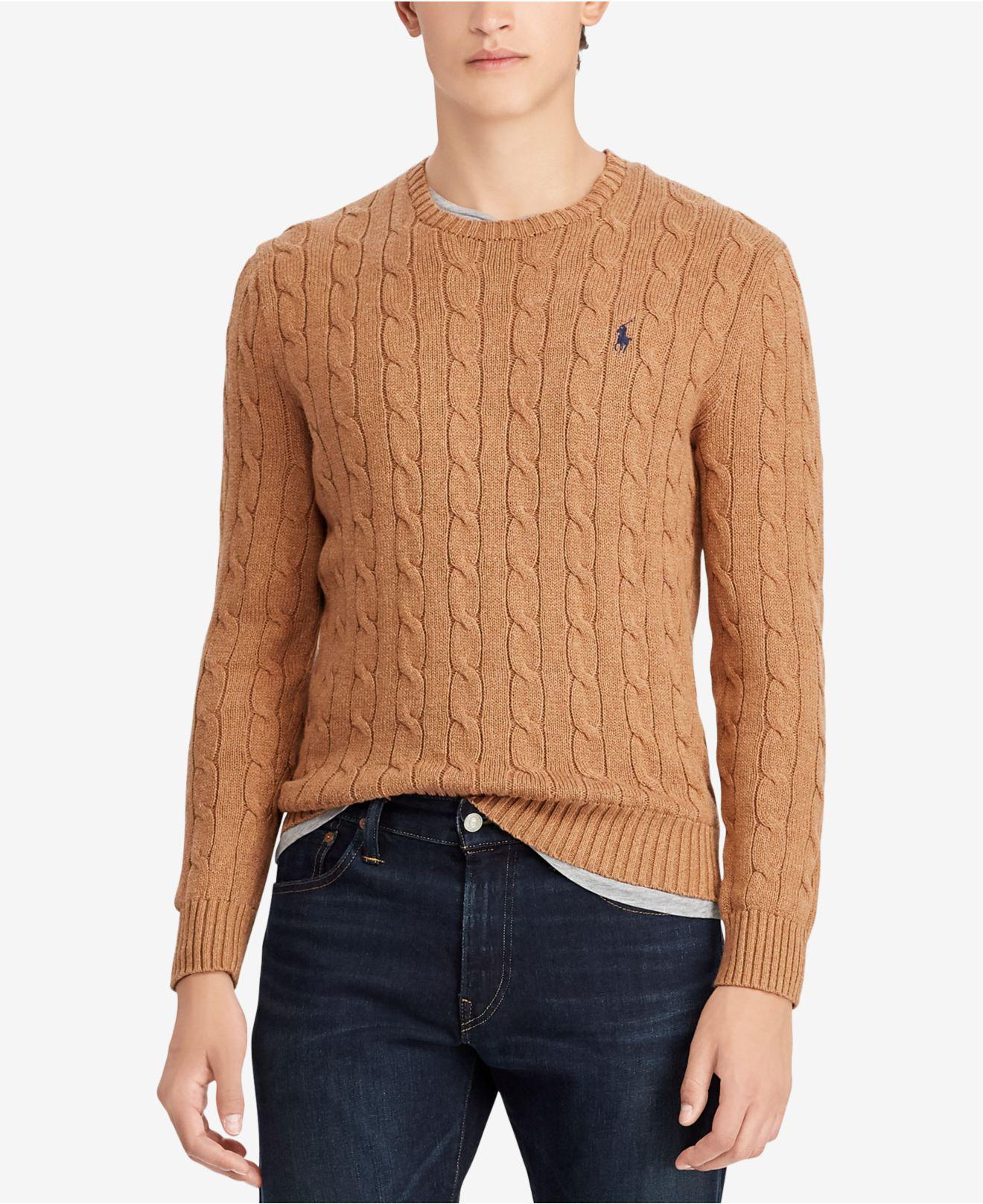 0194be0ea Lyst - Polo Ralph Lauren Brown Ribbed Knit Jumper in Brown for Men ...