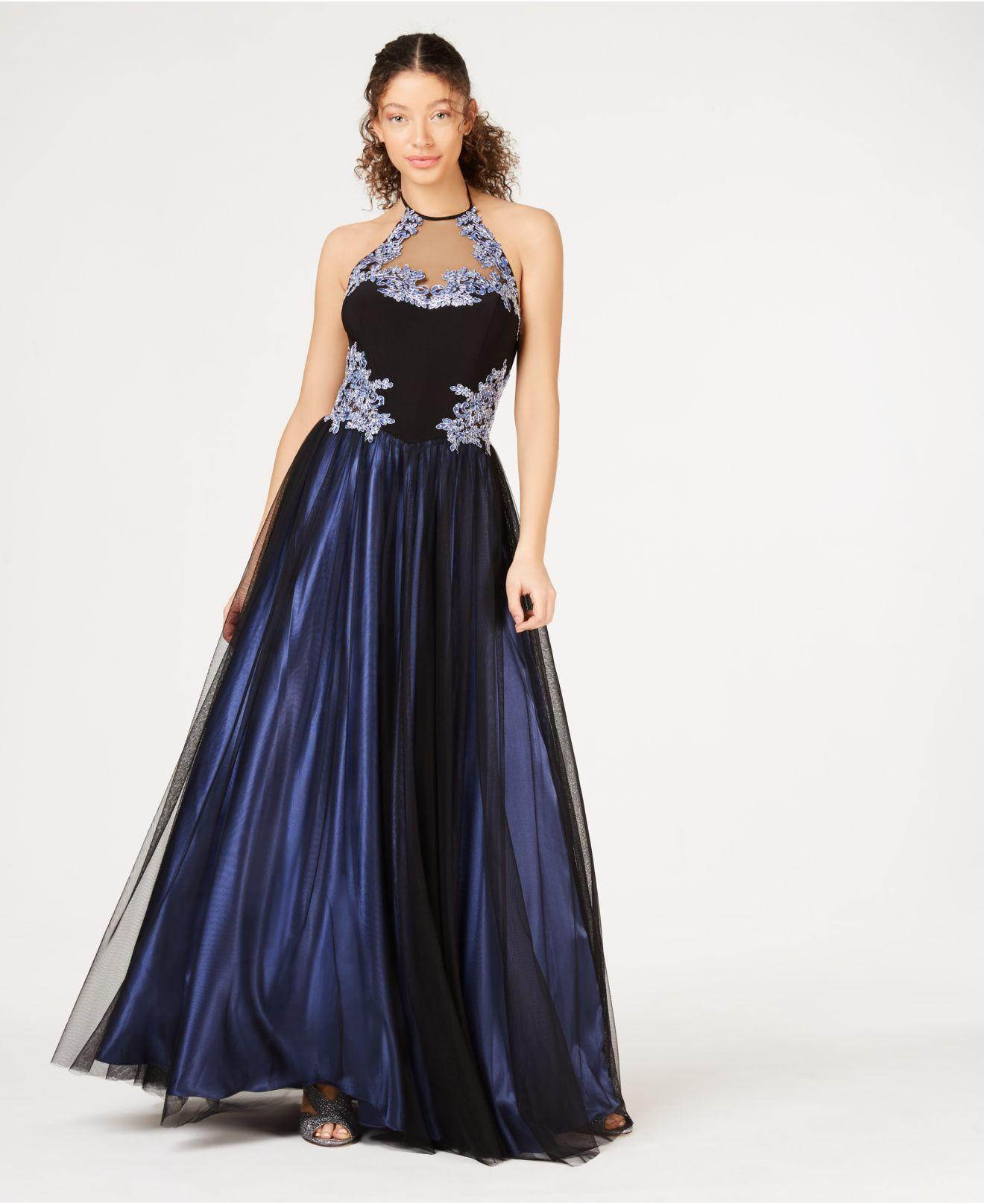 21542fbace Blondie Nites Juniors' Sequined Appliqué Halter Gown in Blue - Lyst