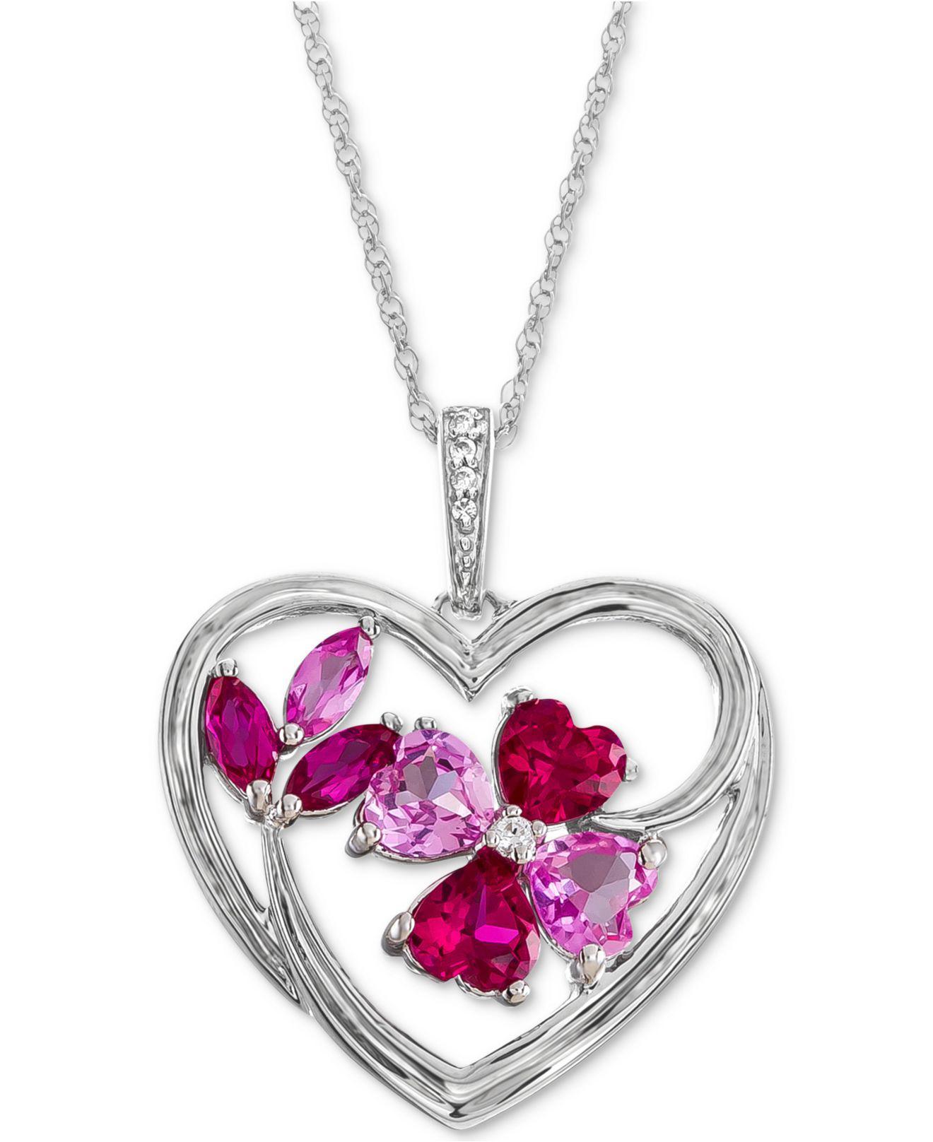 Macys lab created multi gemstone heart pendant necklace 1 13 ct macys womens metallic lab created multi gemstone heart pendant mozeypictures Image collections