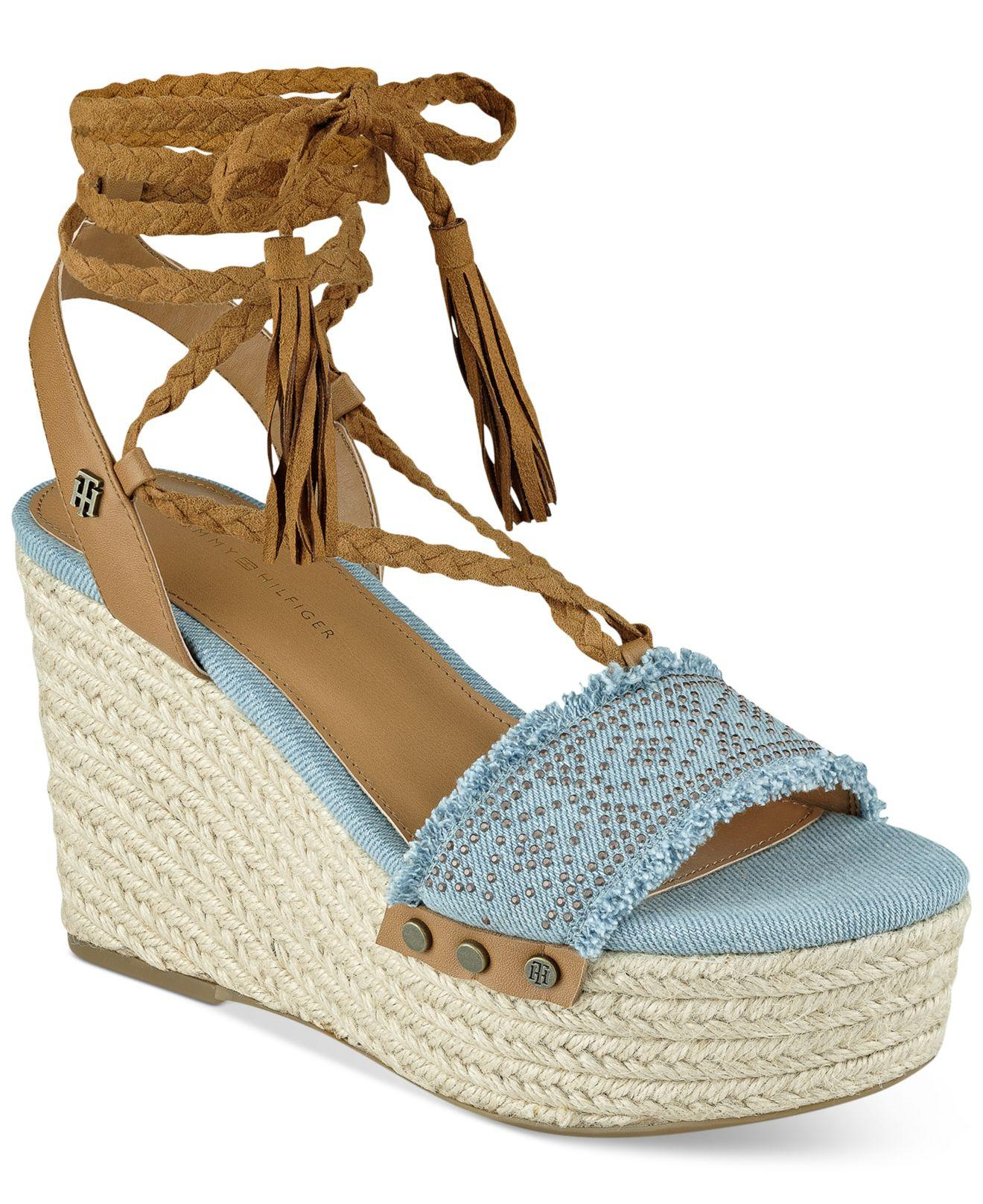 Lyst Tommy Hilfiger Lovelle Wedge Sandals In Blue