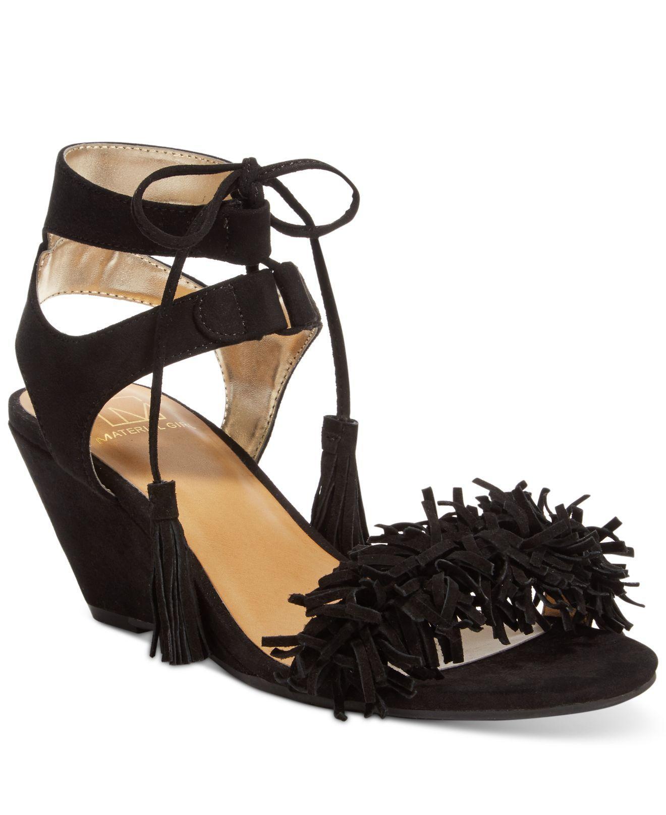5c243ed50 Lyst - Material Girl Haniya Fringe Wedge Sandals in Black