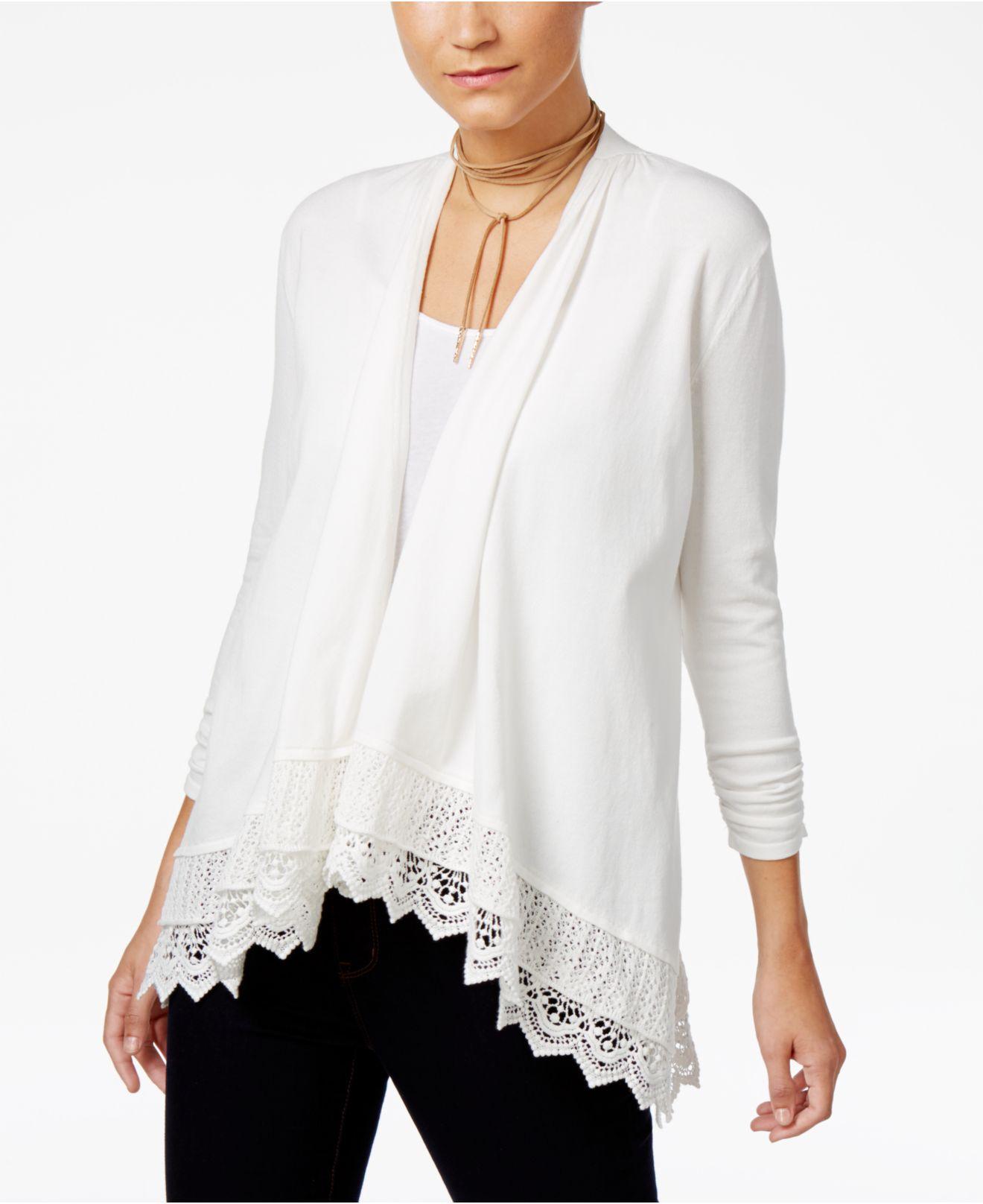 Lyst - Style   Co. Open-front Crochet-hem Cardigan in White dfb5291de
