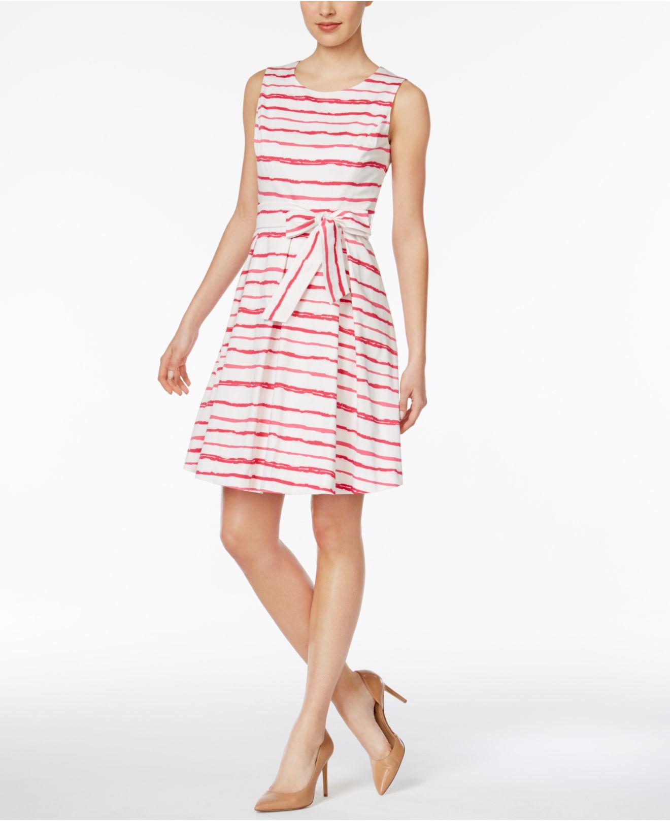 Nine West Striped Fit Amp Flare Dress Lyst