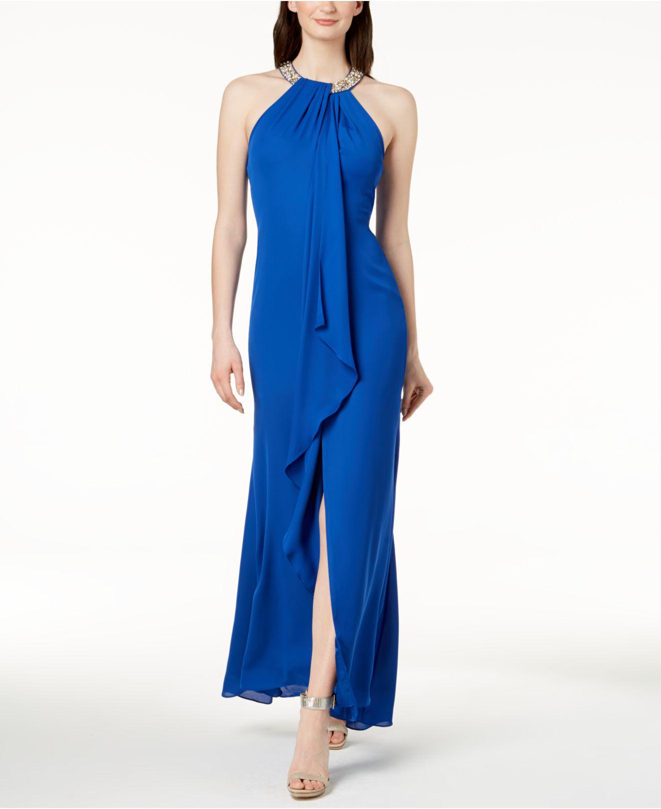Lyst Calvin Klein Draped Chiffon Halter Gown In Blue