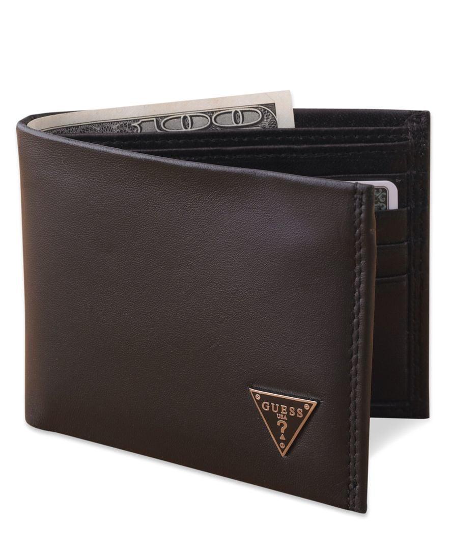 Guess Cruz Leather Bifold Wallet in Black for Men Lyst 6b6b552e5bda6