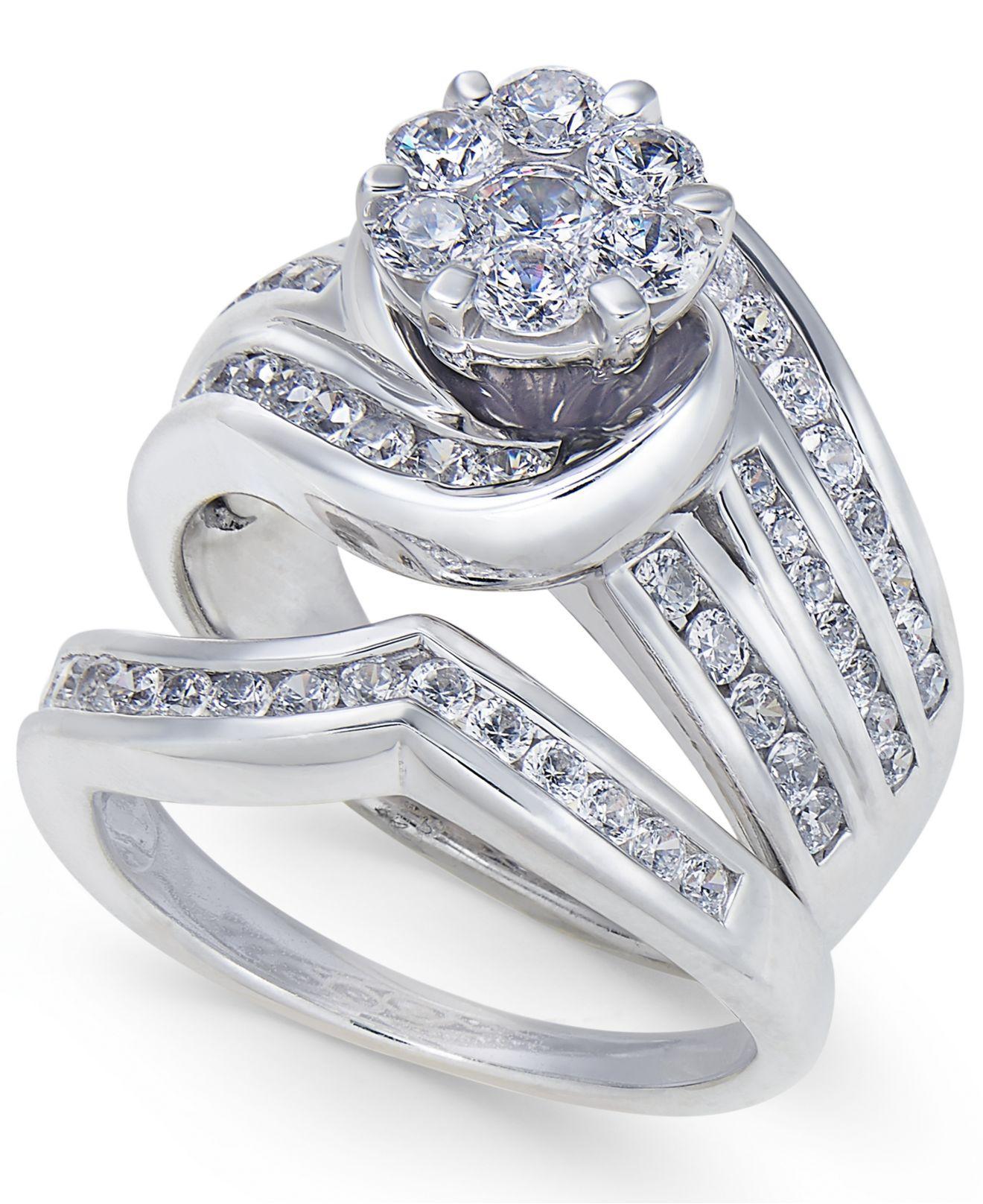 Macy s Diamond Swirl Cluster Bridal Set 2 Ct T w In 14k White