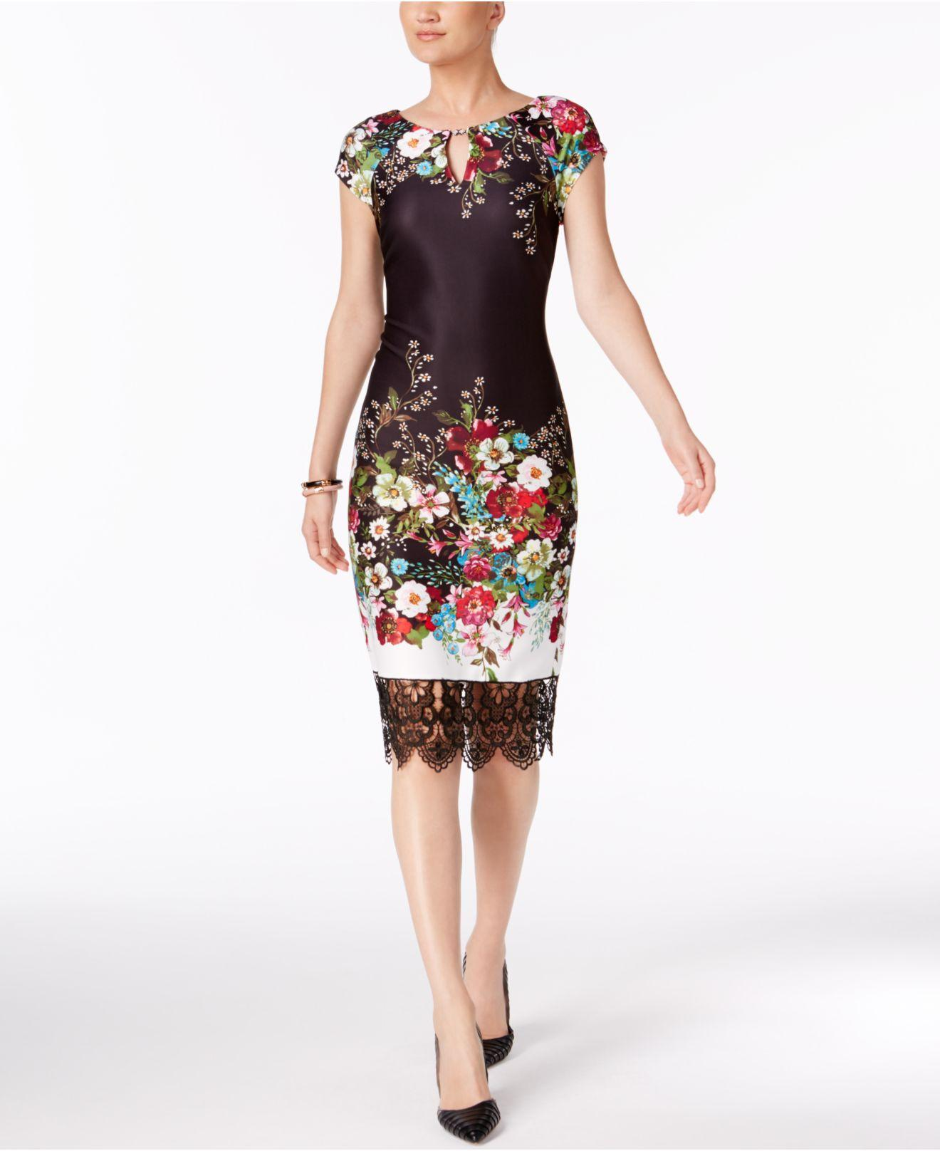 897e9d1557 Eci Lace-trim Sheath Dress in Black - Lyst