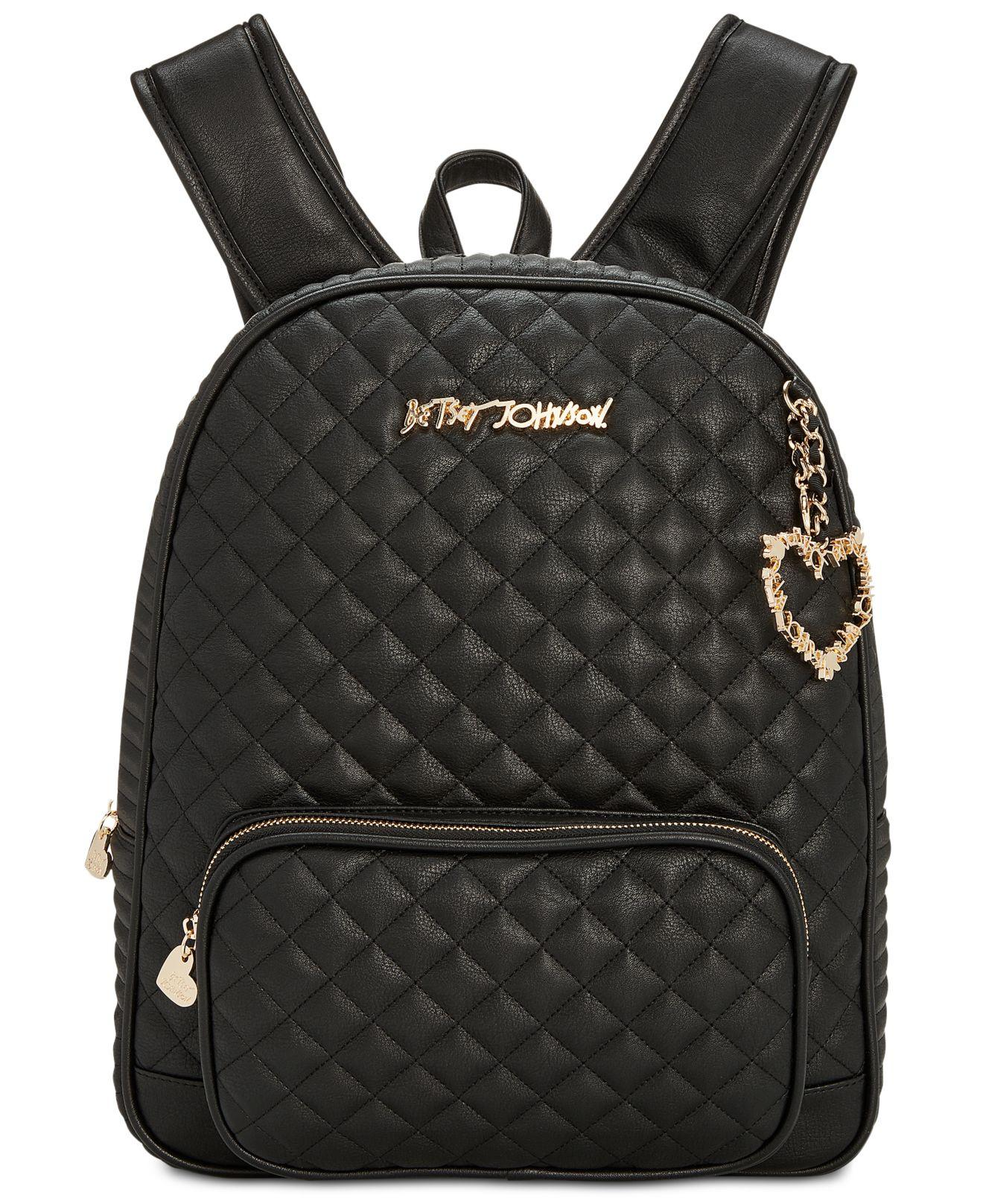 Lyst Betsey Johnson Quilted Medium Backpack In Black