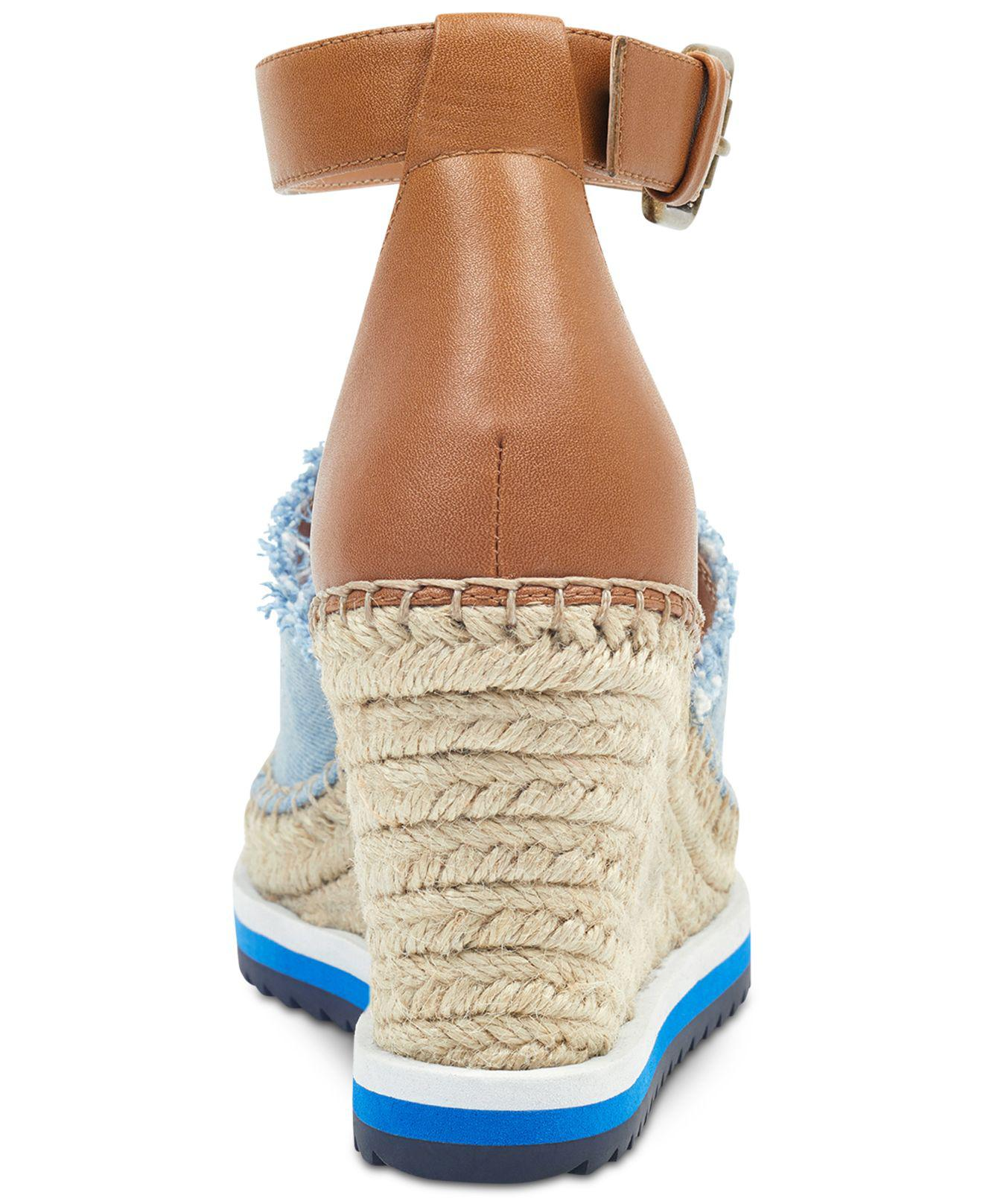 4587858e9b75 Lyst - Tommy Hilfiger Yavino Espadrille Platform Wedge Sandals in Blue