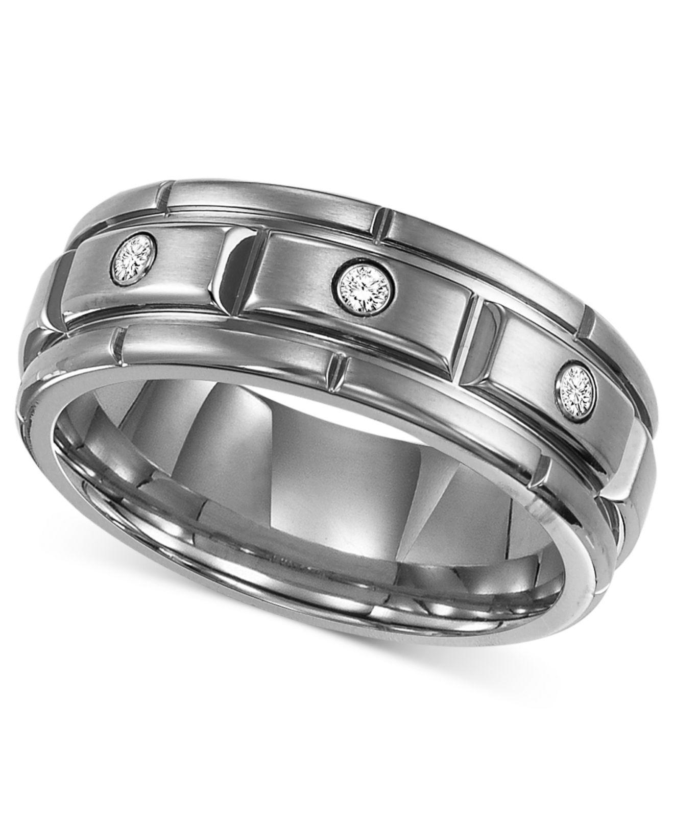 f3a0f42a584998 Triton. Metallic Men's Titanium Ring, Three Diamond Wedding Band (1/10 Ct.  ...