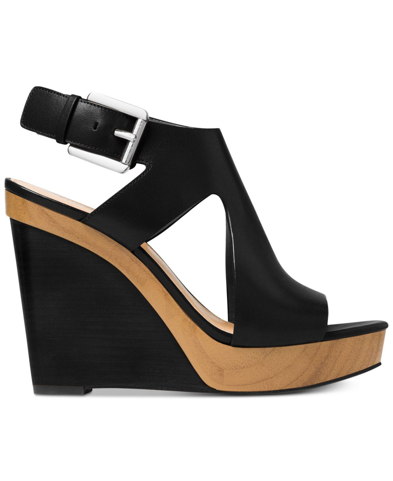 c2e451a6da06 Michael Kors Josephine Wedge Sandals in Black - Lyst