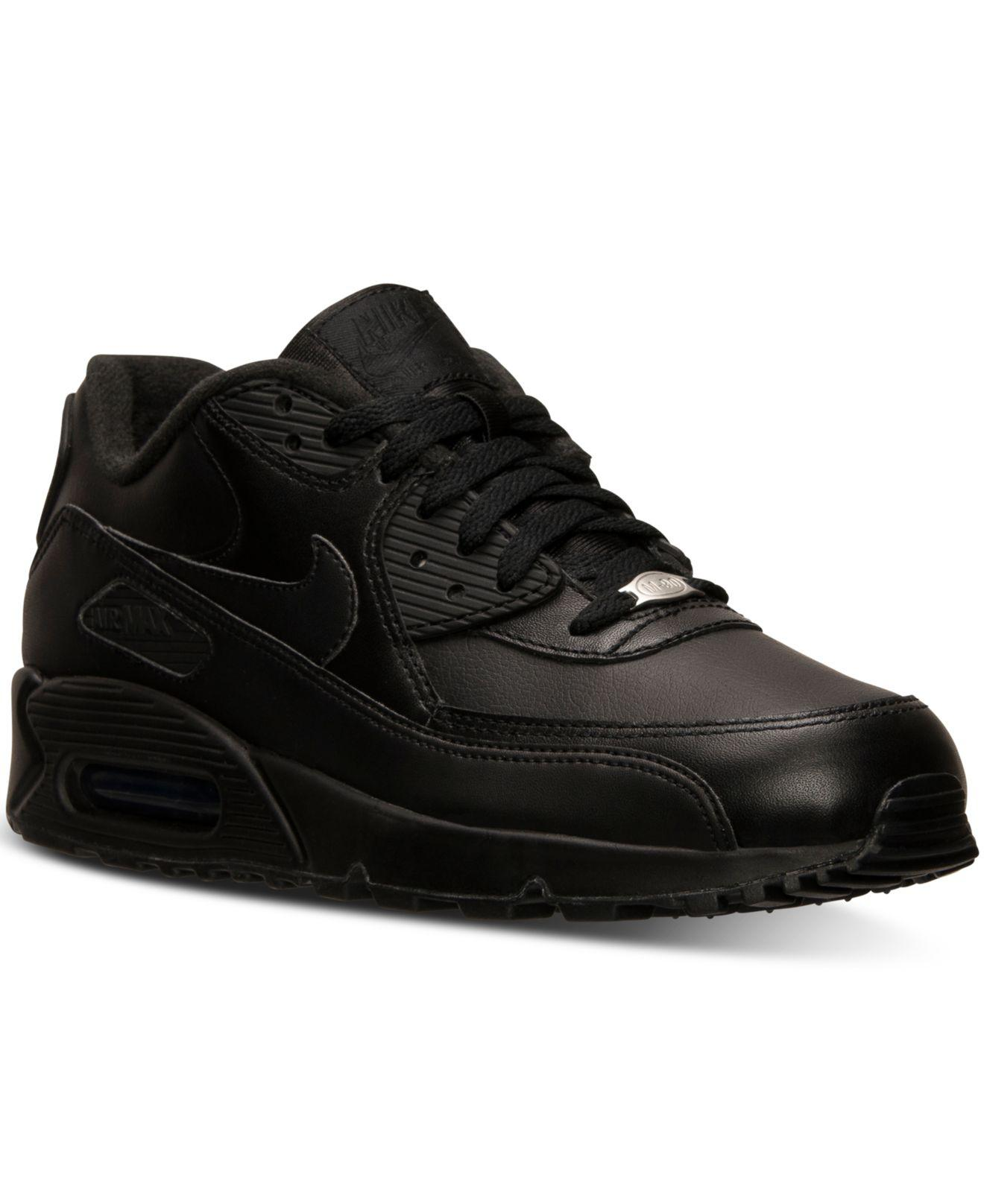 Nike. Black Men s Air Max 90 Leather Running Sneakers From Finish Line 47d3f38bd2f2