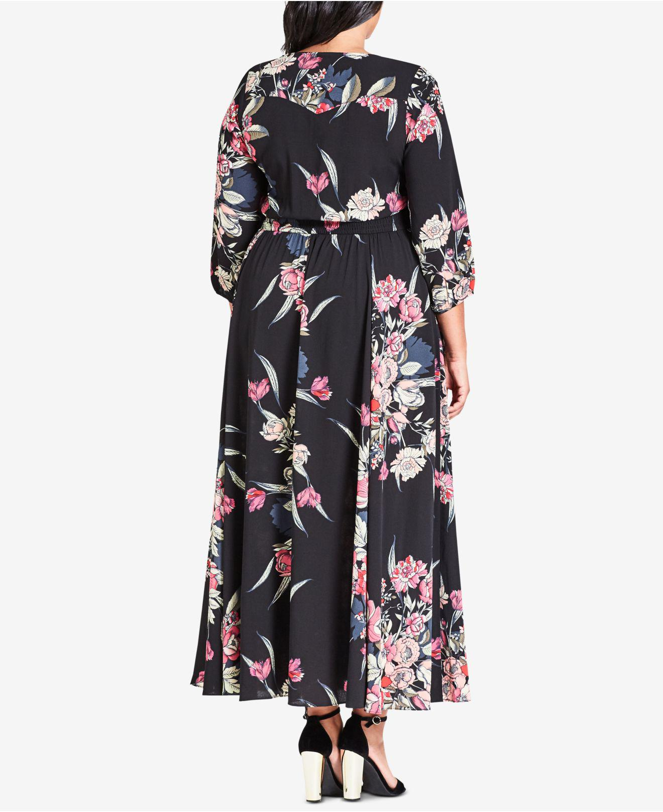 643c6f1c2ab Lyst - City Chic Trendy Plus Size Floral-print Fit   Flare Maxi Dress