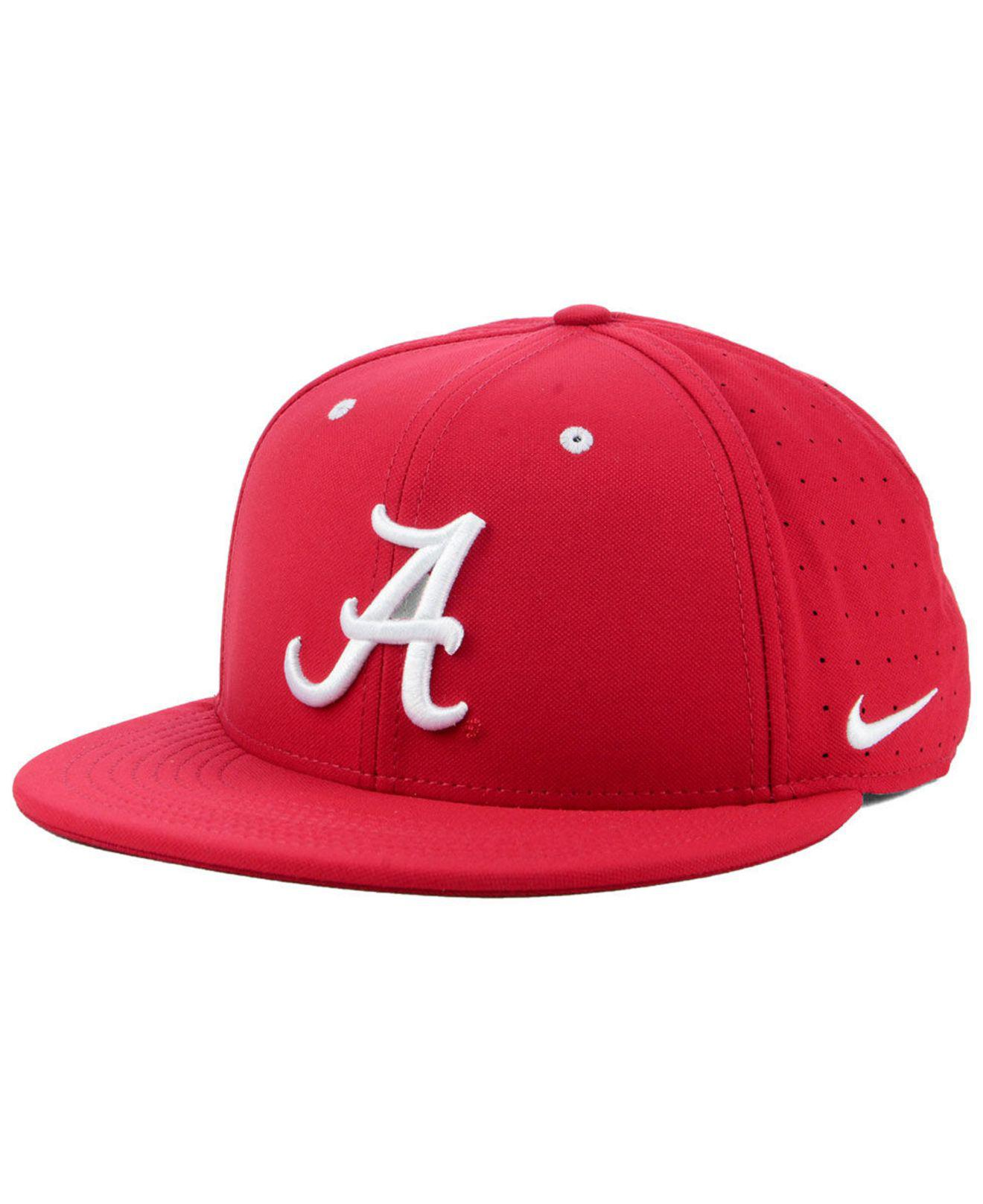 low priced 908c0 697c9 ... authentic nike. mens red alabama crimson tide aerobill true fitted baseball  cap 78109 875b9