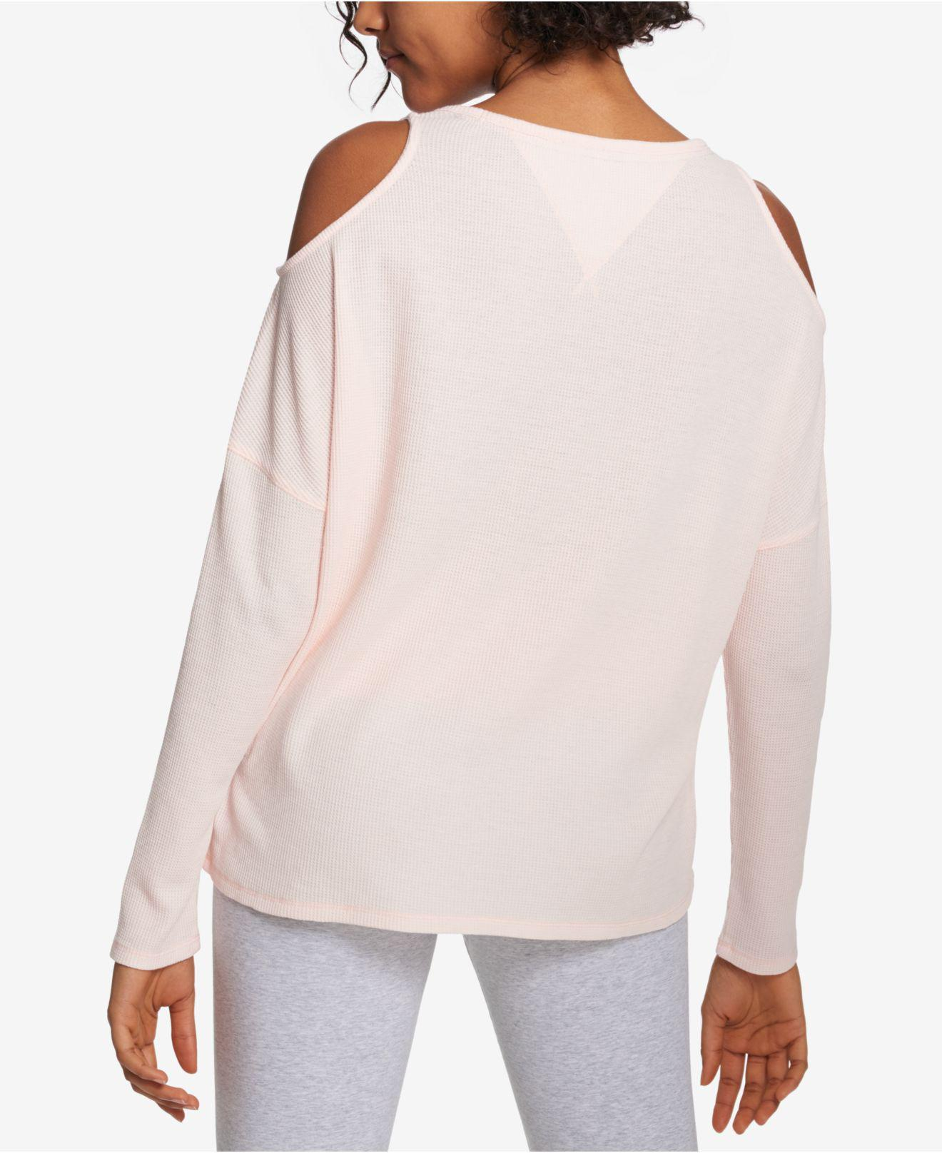4581a96d150bf Lyst - Tommy Hilfiger Sport Cold-shoulder Waffle-knit Top