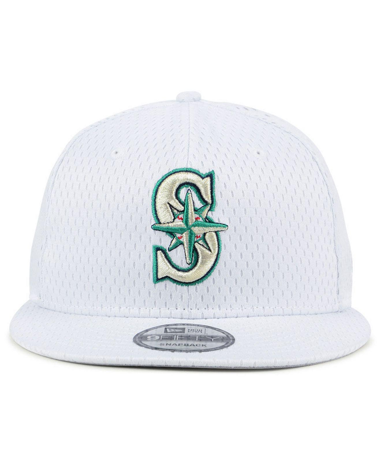 finest selection ab19d 54899 ... 50% off lyst ktz seattle mariners batting practice mesh 9fifty snapback  cap in white for