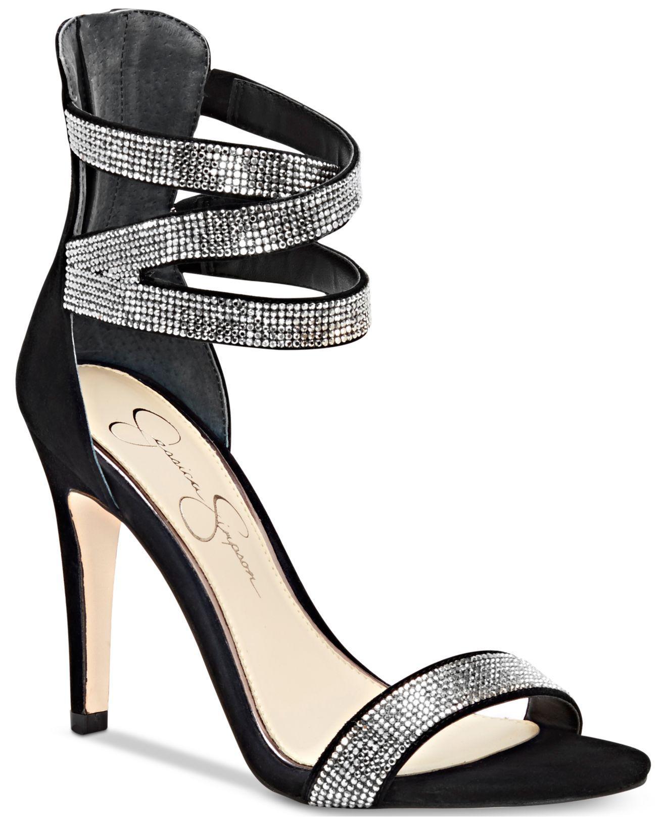 684b6545422 Lyst - Jessica Simpson Elepina Rhinestone Sandals in Black