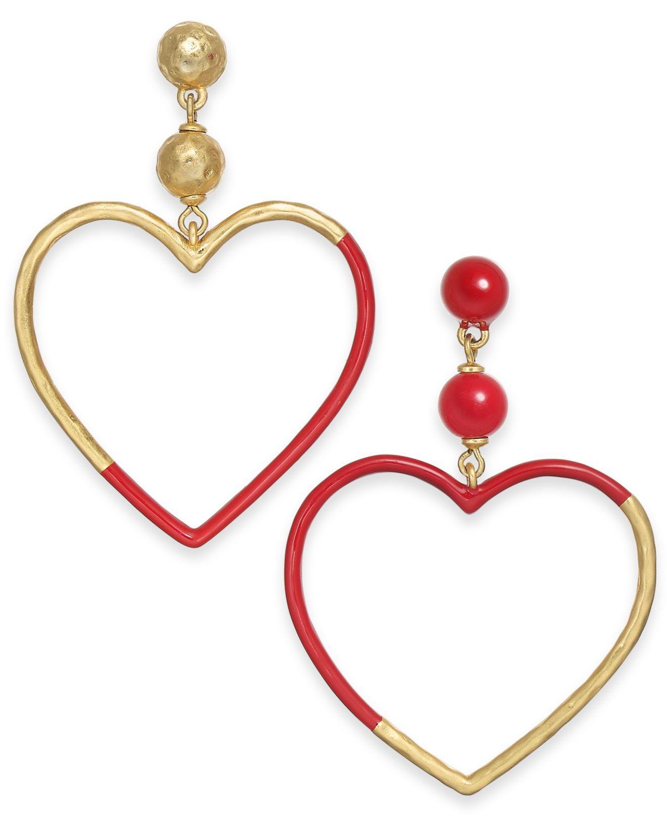 5ca75a1f3 Lyst - Kate Spade Gold-tone Bead & Color-coated Heart Mismatch Drop ...