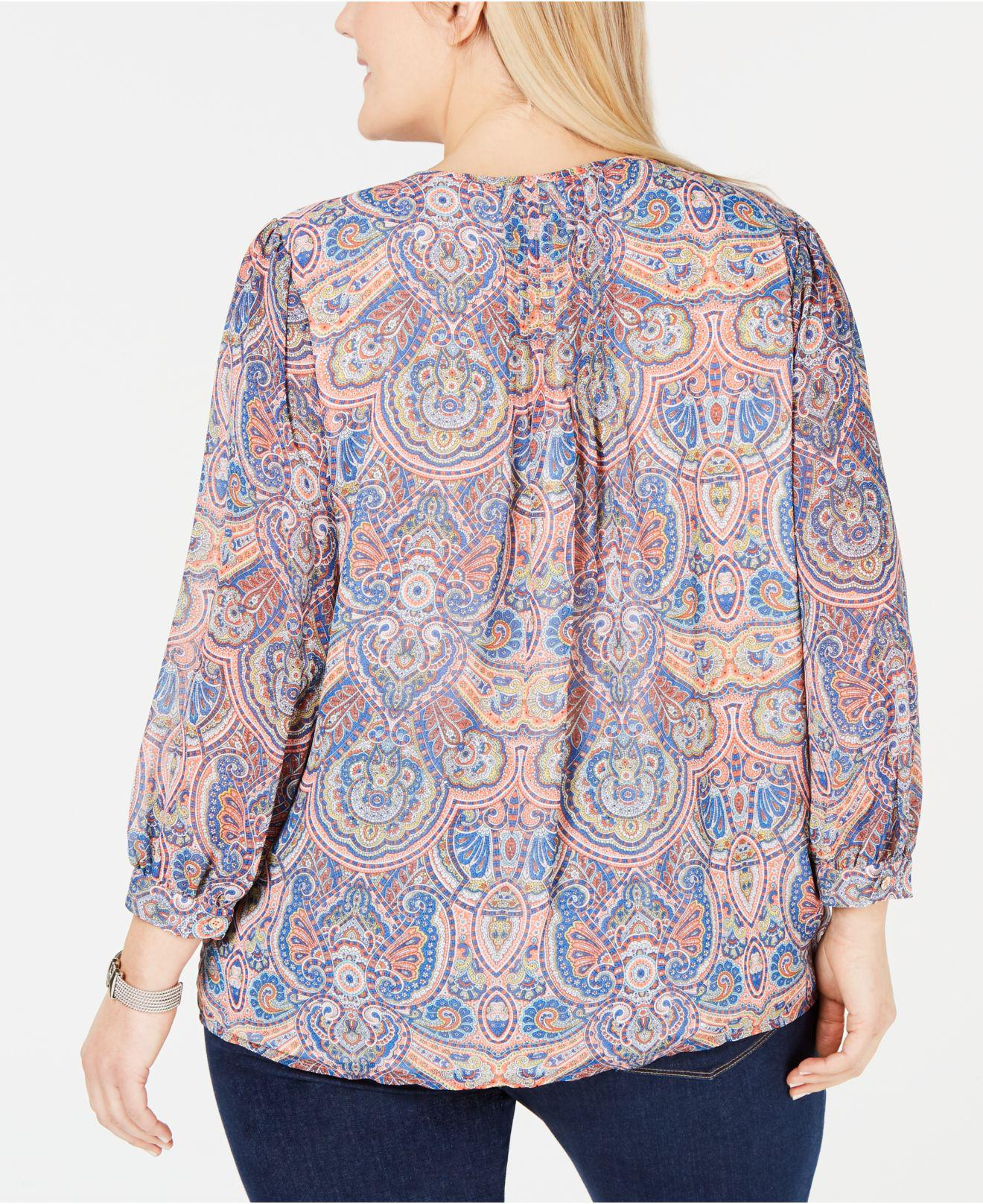 2cc402b4c29255 Lyst - Tommy Hilfiger Plus Size Paisley-print Pintucked Top