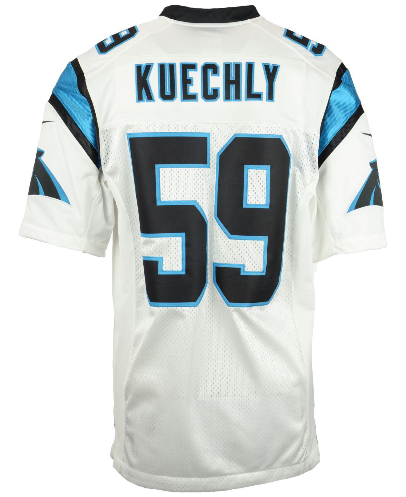 e6bb21f1c42 Nike Men's Luke Kuechly Carolina Panthers Limited Jersey in White ...
