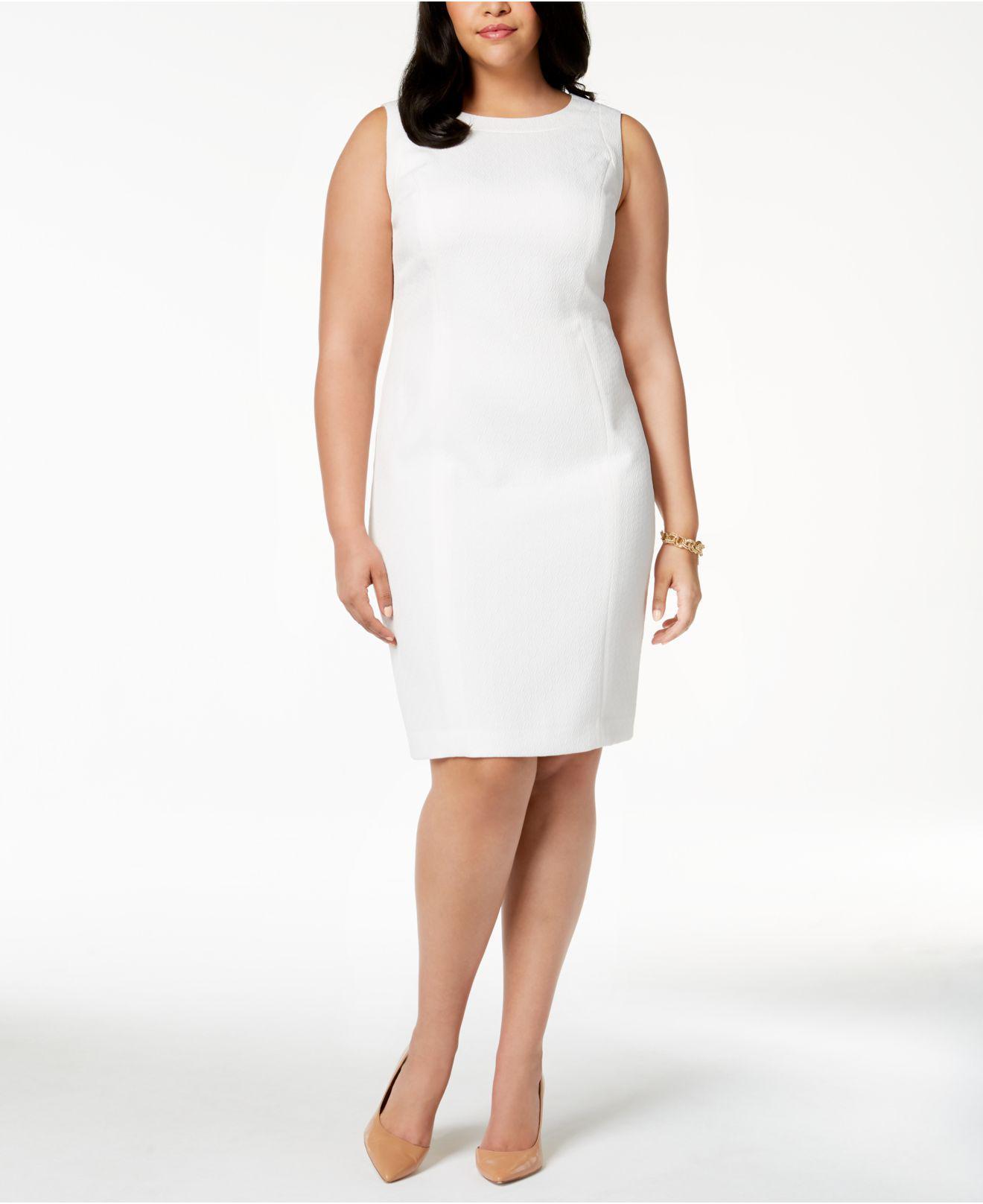 59293de0d04 Lyst - Kasper Plus Size Jacquard Sheath Dress in White