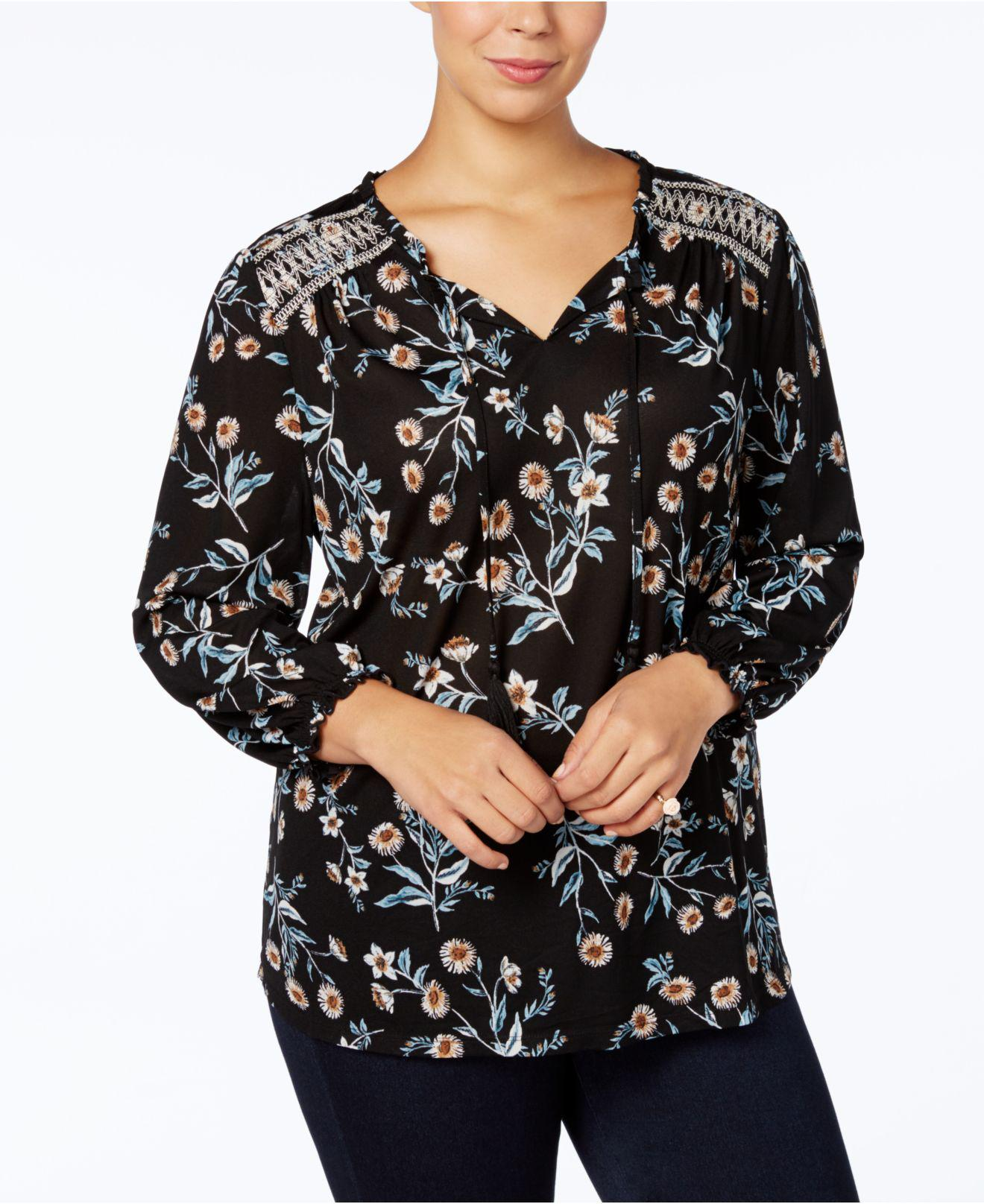 331819eb6ea34 Lyst - Style   Co. Plus Size Embroidered-yoke Peasant Top in Black