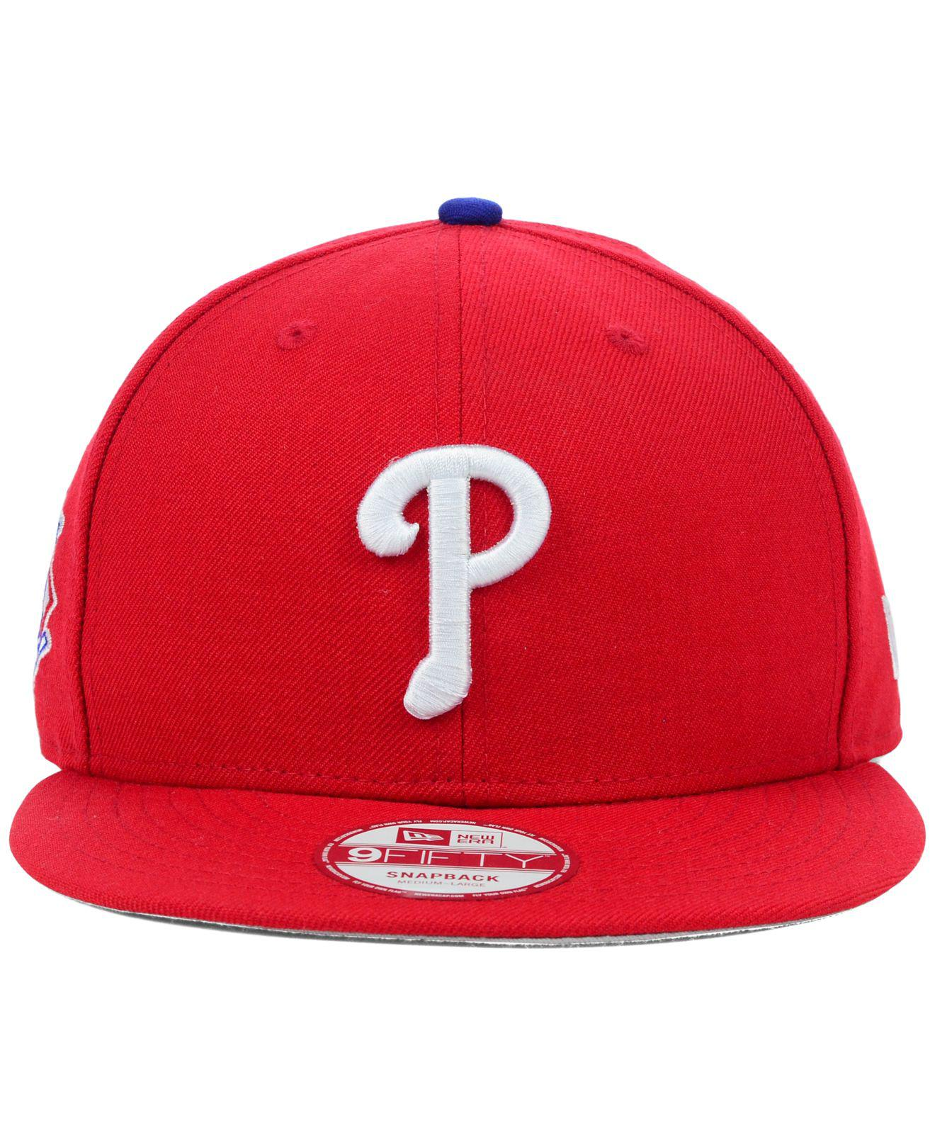 huge discount a5e9c ddfc2 ... new zealand spain lyst ktz philadelphia phillies mlb 2 tone link 9fifty snapback  cap in red