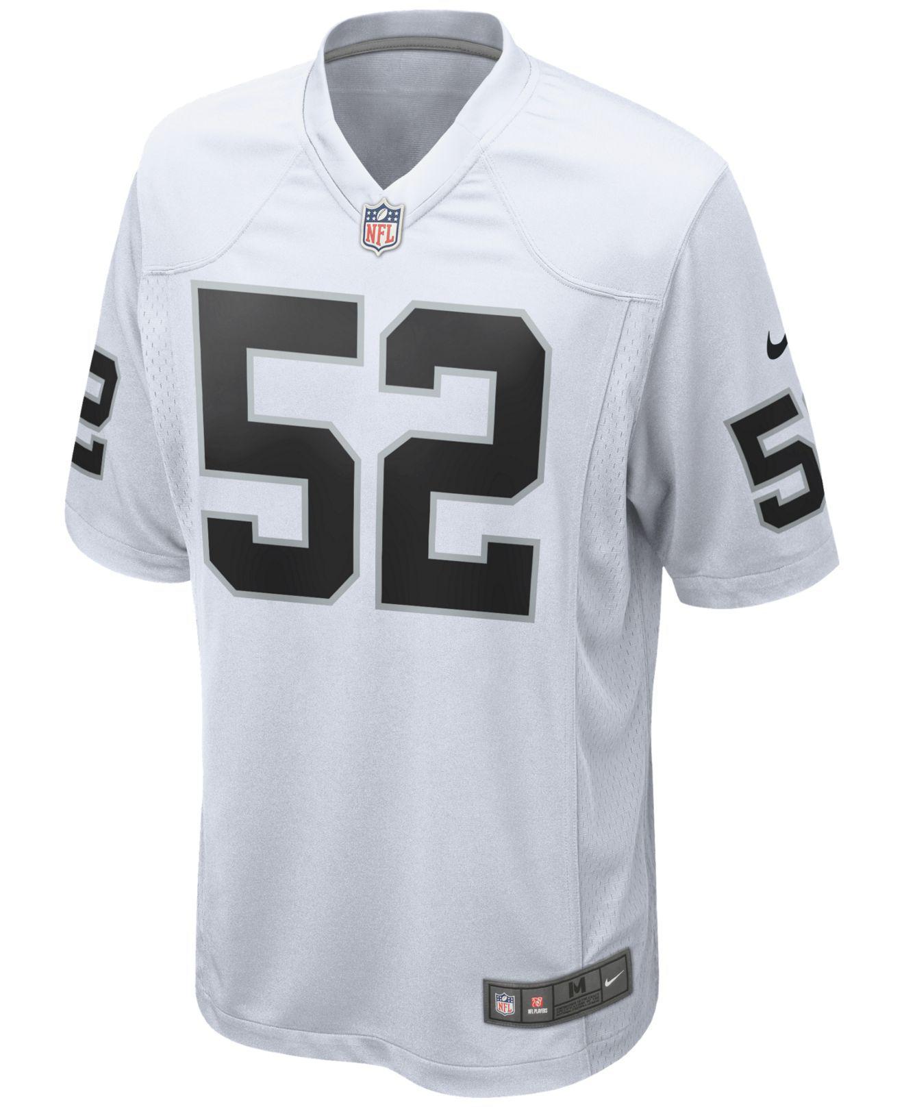 6b50e060045 Lyst - Nike Men S Khalil Mack Oakland Raiders Game Jersey in White for Men  - Save 62%