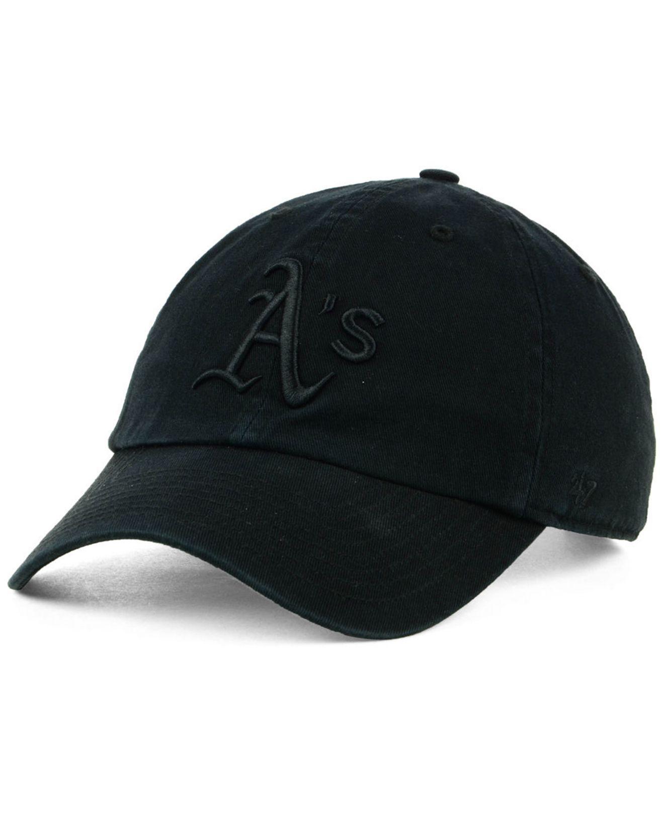 db0c0f5b61d Lyst - 47 Brand Oakland Athletics Black On Black Clean Up Cap in ...