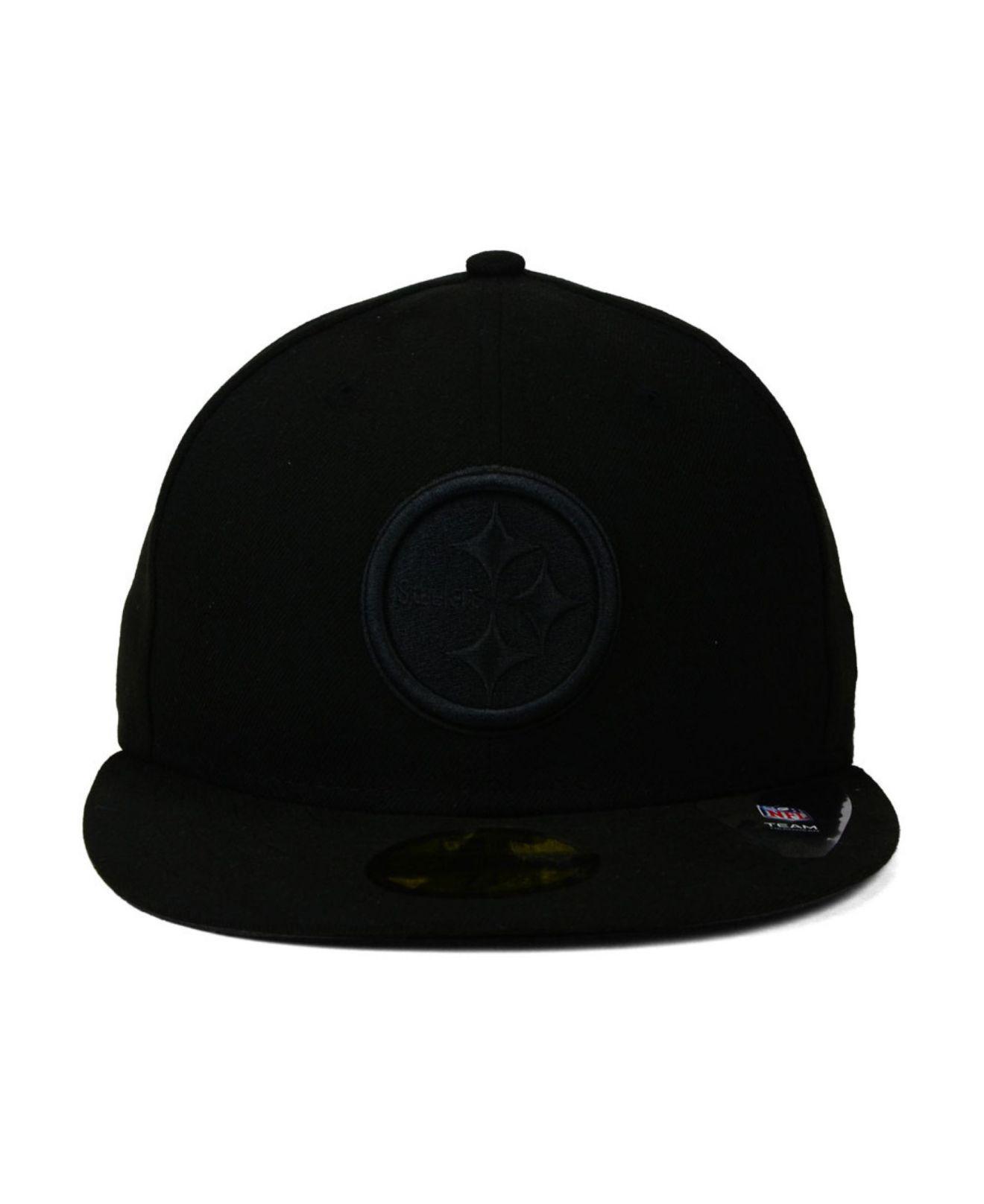 ... release date lyst ktz pittsburgh steelers black on black 59fifty cap in  black for men 11f5b f851029feb11