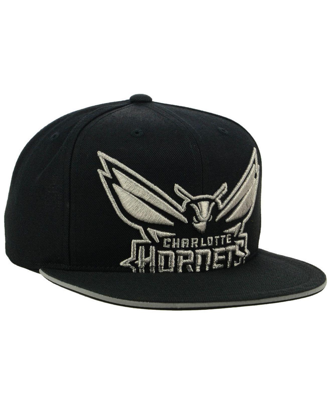 new arrival 1fe1e db73a ... wholesale mitchell ness black charlotte hornets cropped metallic snapback  cap for men lyst. view fullscreen