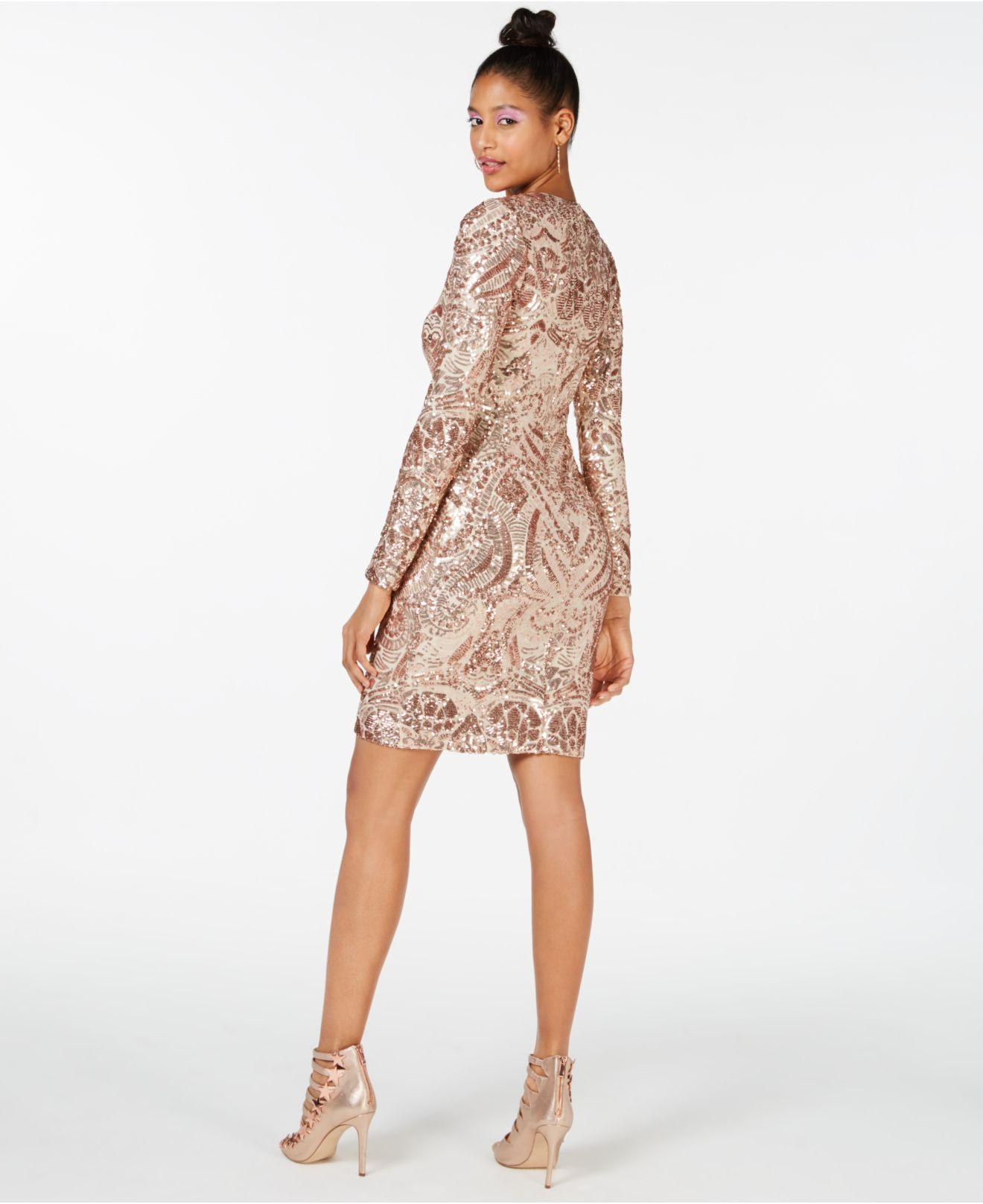 bd8c5461a37 Lyst - Marciano Nude Sequin Bodycon Dress in Pink