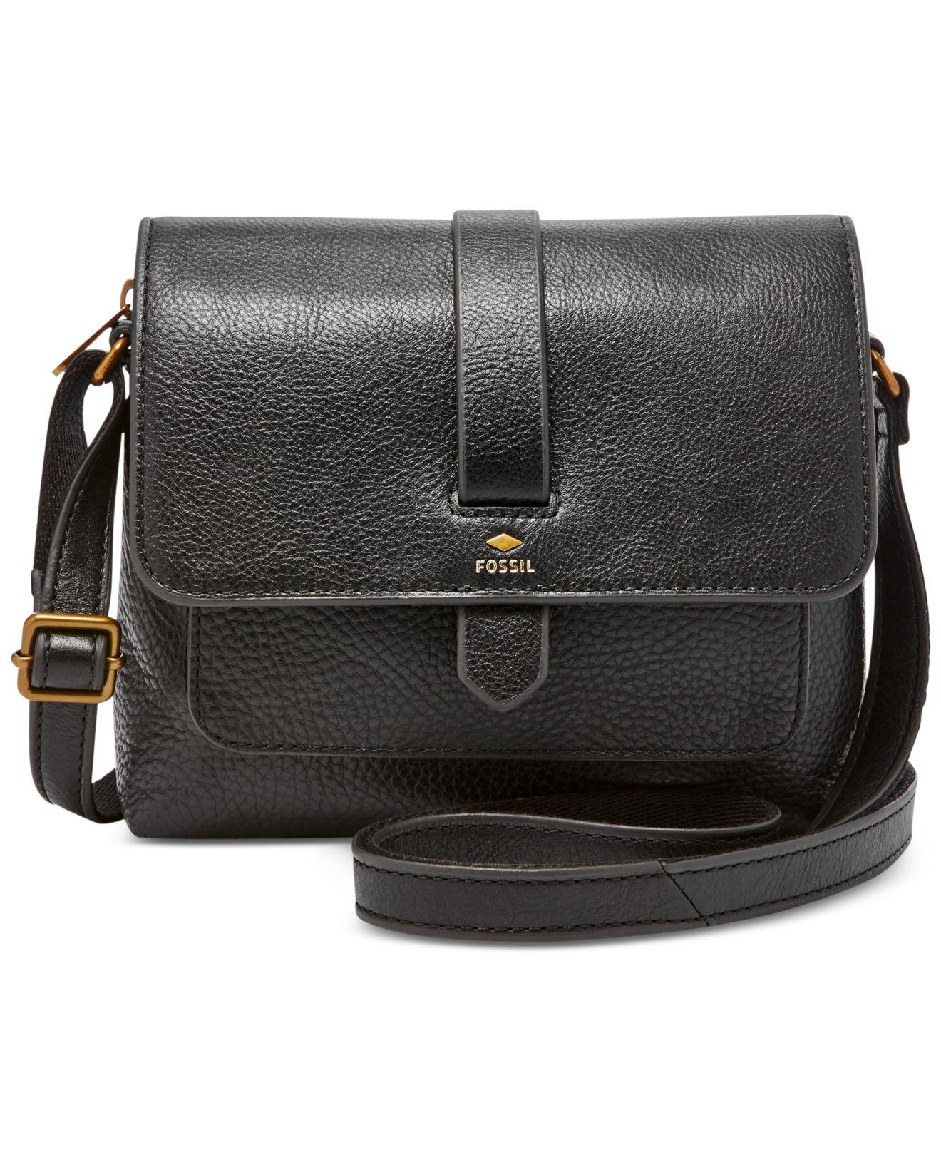 9d35b9e9b325 Lyst - Fossil Kinley Small Leather Across Body Bag in Black - Save 7%
