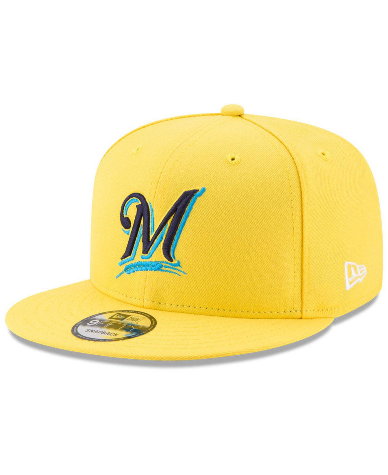 19de0c542b40e ... authentic ktz. mens yellow milwaukee brewers players weekend 9fifty snapback  cap 01926 6cfc7