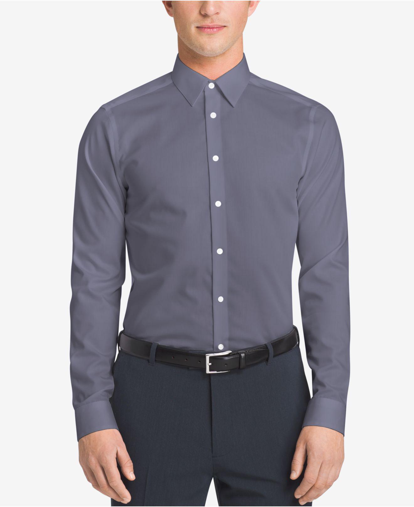 0703304d Calvin Klein Men's Slim-fit Non-iron Performance Herringbone Dress ...